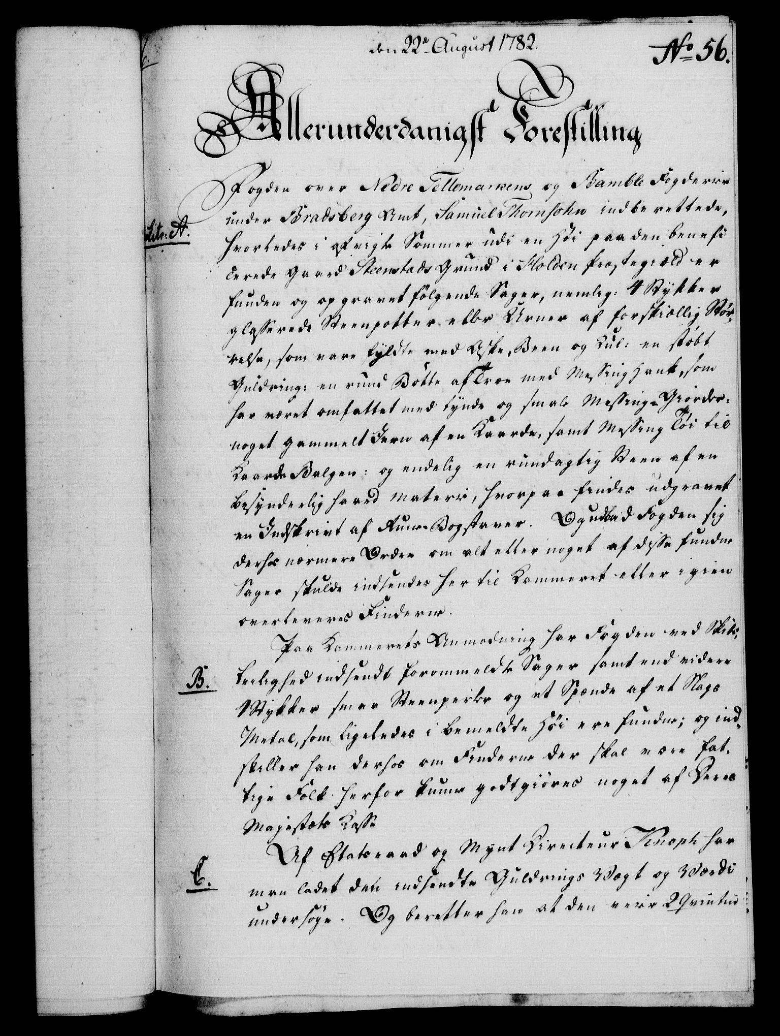 RA, Rentekammeret, Kammerkanselliet, G/Gf/Gfa/L0064: Norsk relasjons- og resolusjonsprotokoll (merket RK 52.64), 1782, s. 423