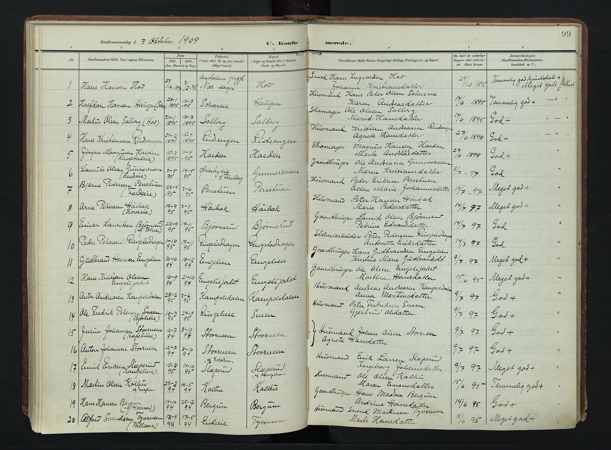 SAH, Søndre Land prestekontor, K/L0007: Ministerialbok nr. 7, 1905-1914, s. 99