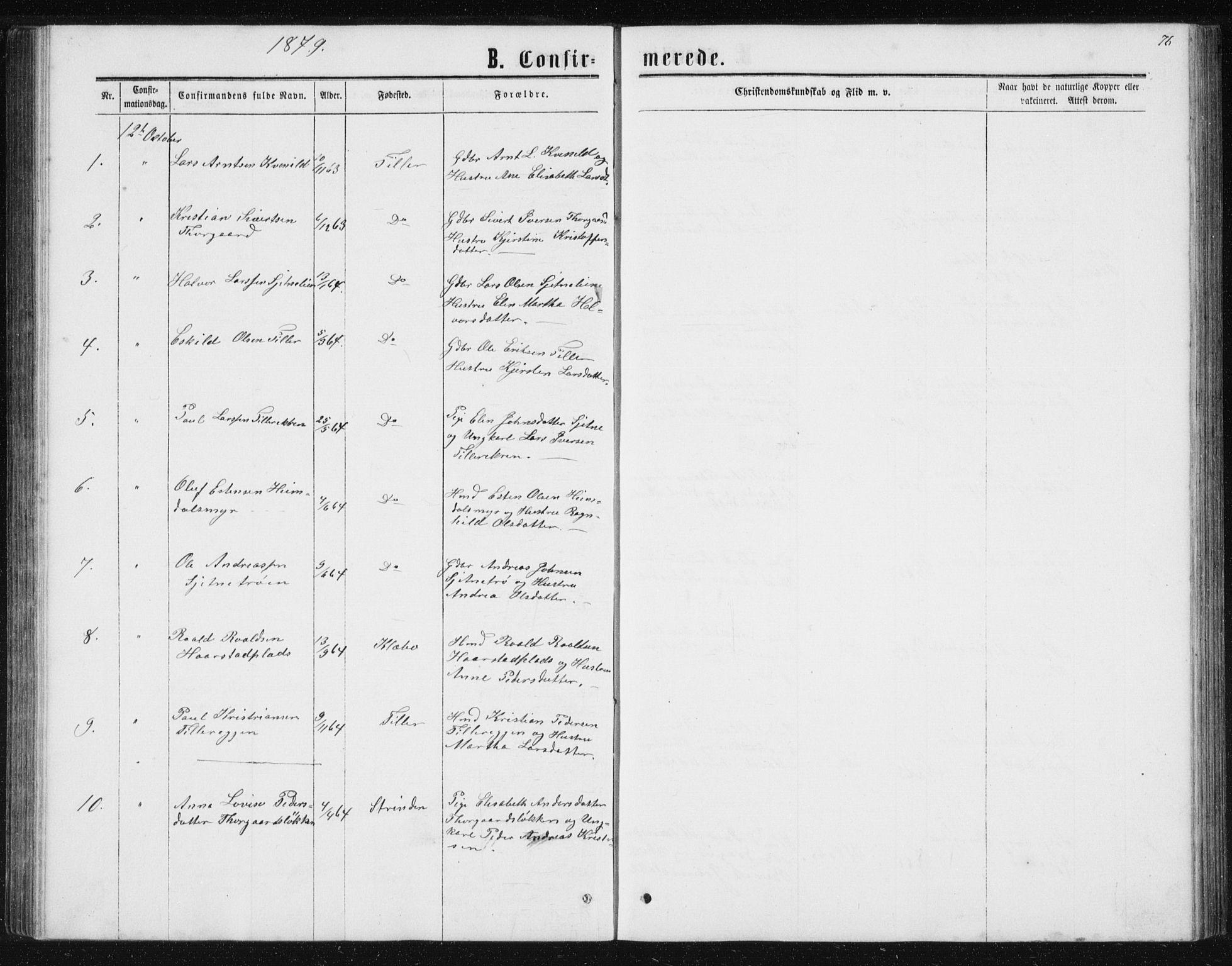 SAT, Ministerialprotokoller, klokkerbøker og fødselsregistre - Sør-Trøndelag, 621/L0459: Klokkerbok nr. 621C02, 1866-1895, s. 76