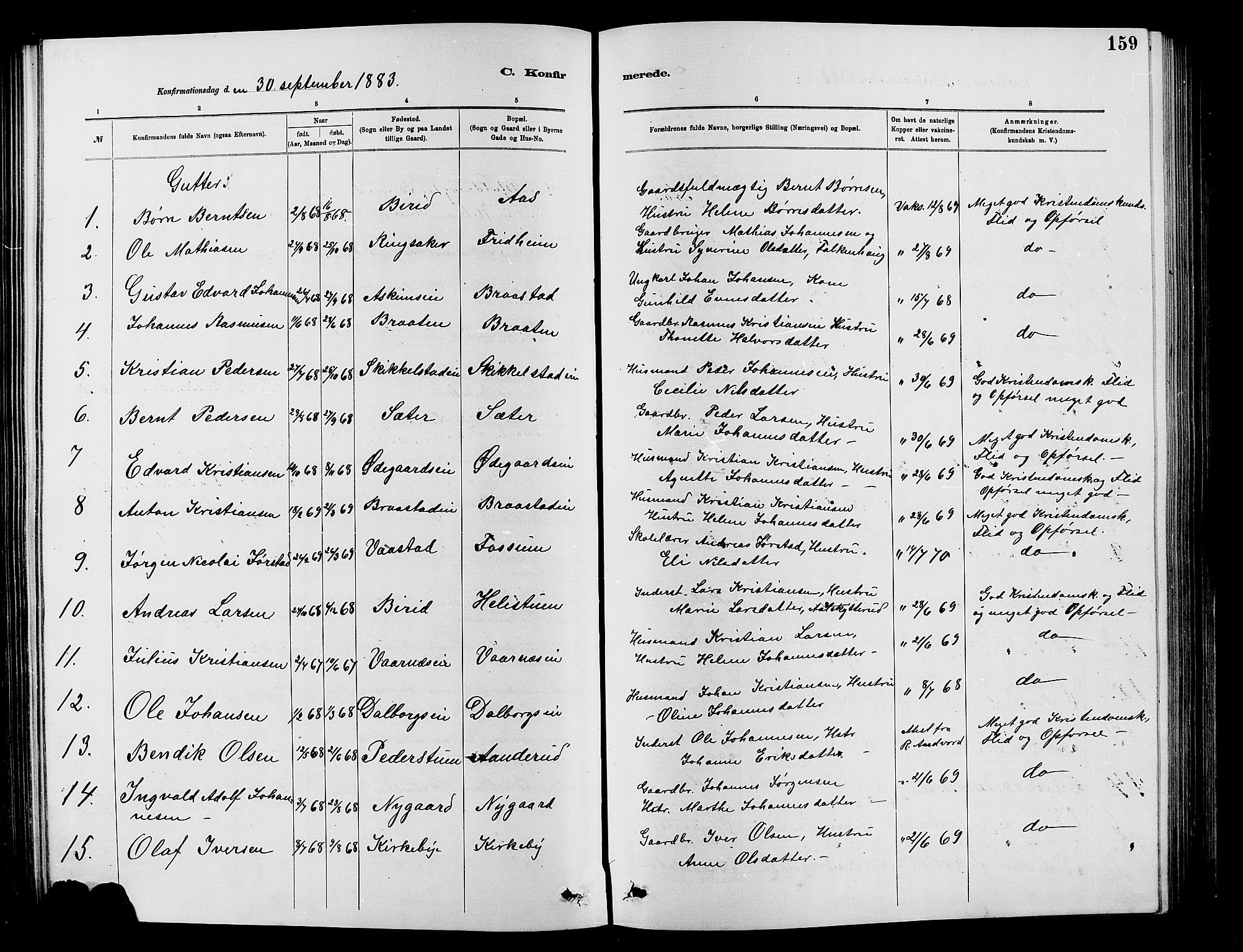 SAH, Vardal prestekontor, H/Ha/Hab/L0007: Klokkerbok nr. 7 /1, 1881-1895, s. 159