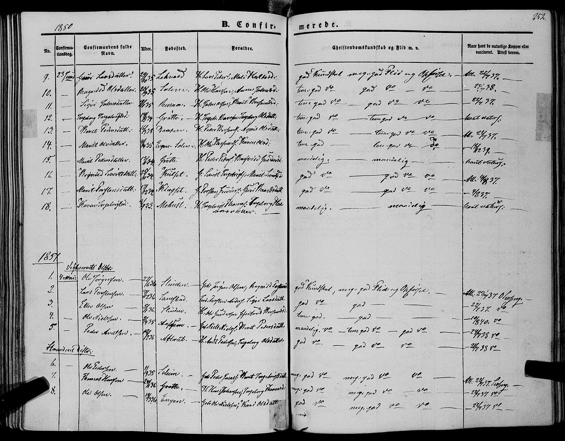 SAT, Ministerialprotokoller, klokkerbøker og fødselsregistre - Sør-Trøndelag, 695/L1145: Ministerialbok nr. 695A06 /1, 1843-1859, s. 252