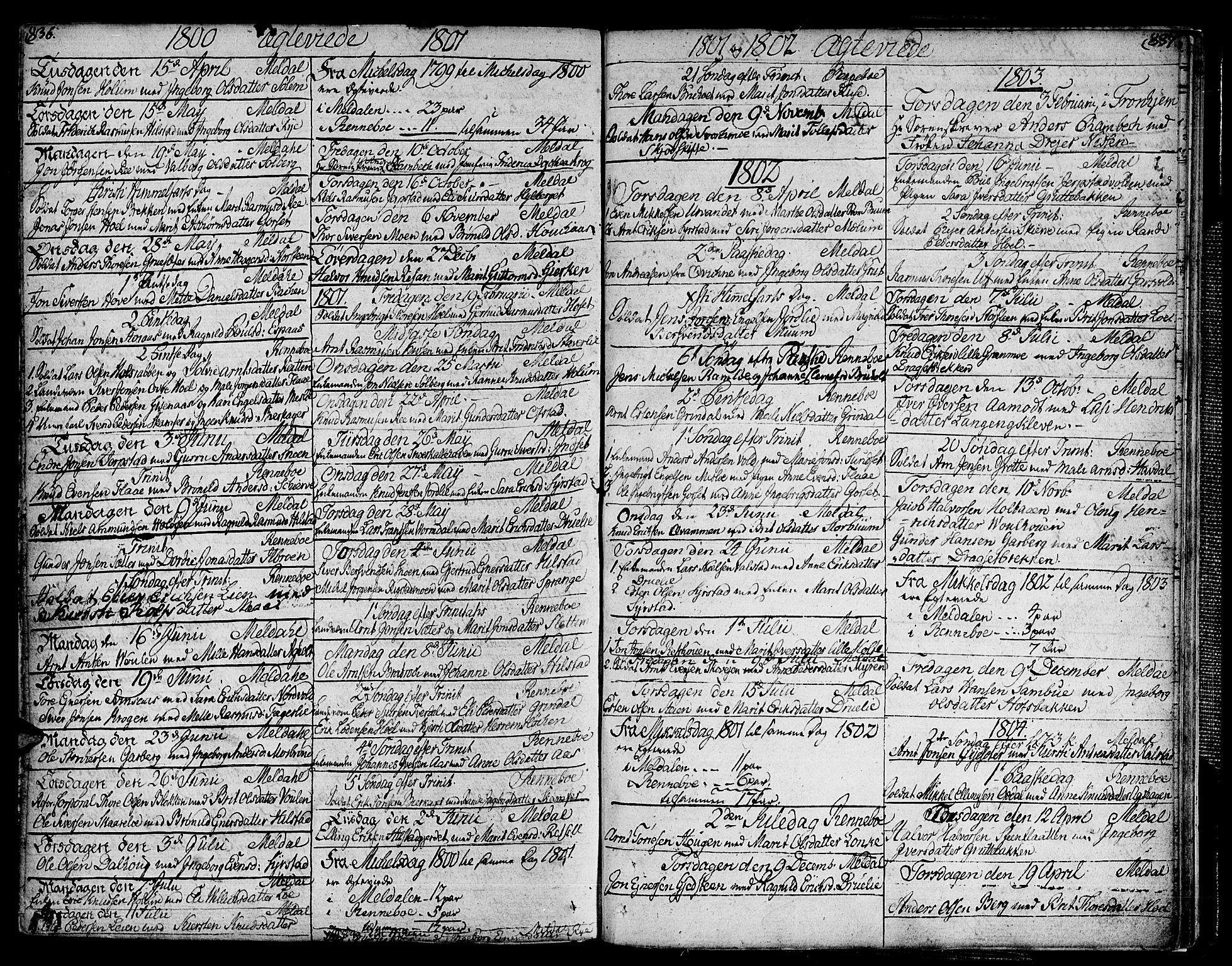 SAT, Ministerialprotokoller, klokkerbøker og fødselsregistre - Sør-Trøndelag, 672/L0852: Ministerialbok nr. 672A05, 1776-1815, s. 836-837