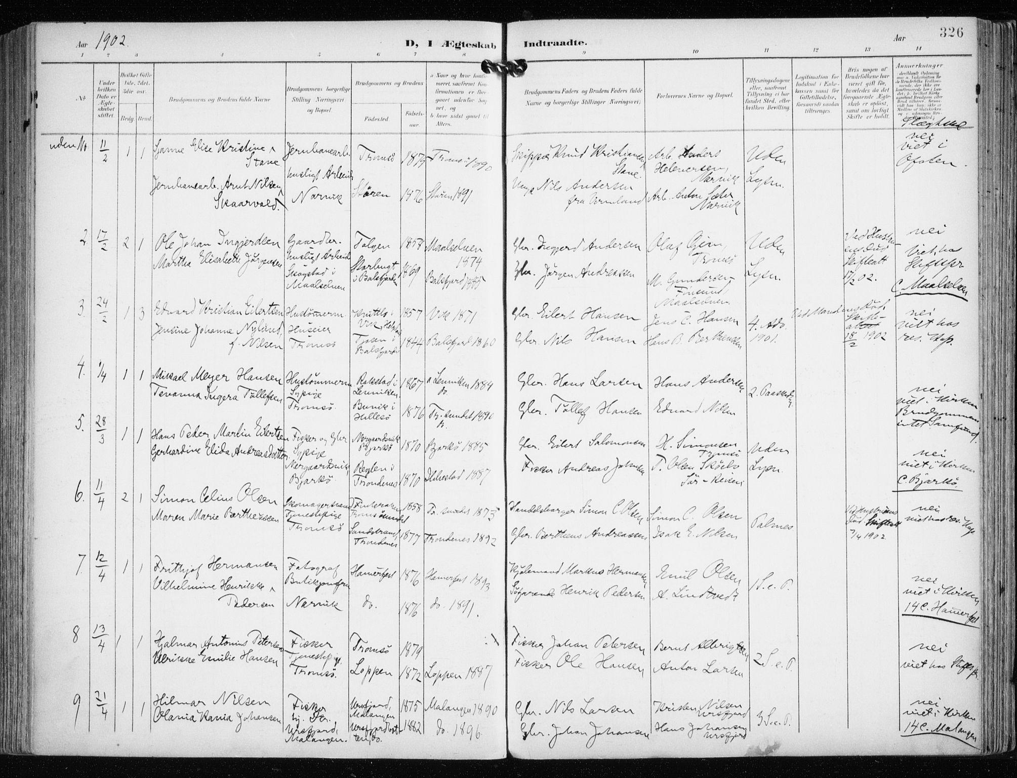 SATØ, Tromsø sokneprestkontor/stiftsprosti/domprosti, G/Ga/L0016kirke: Ministerialbok nr. 16, 1899-1906, s. 326