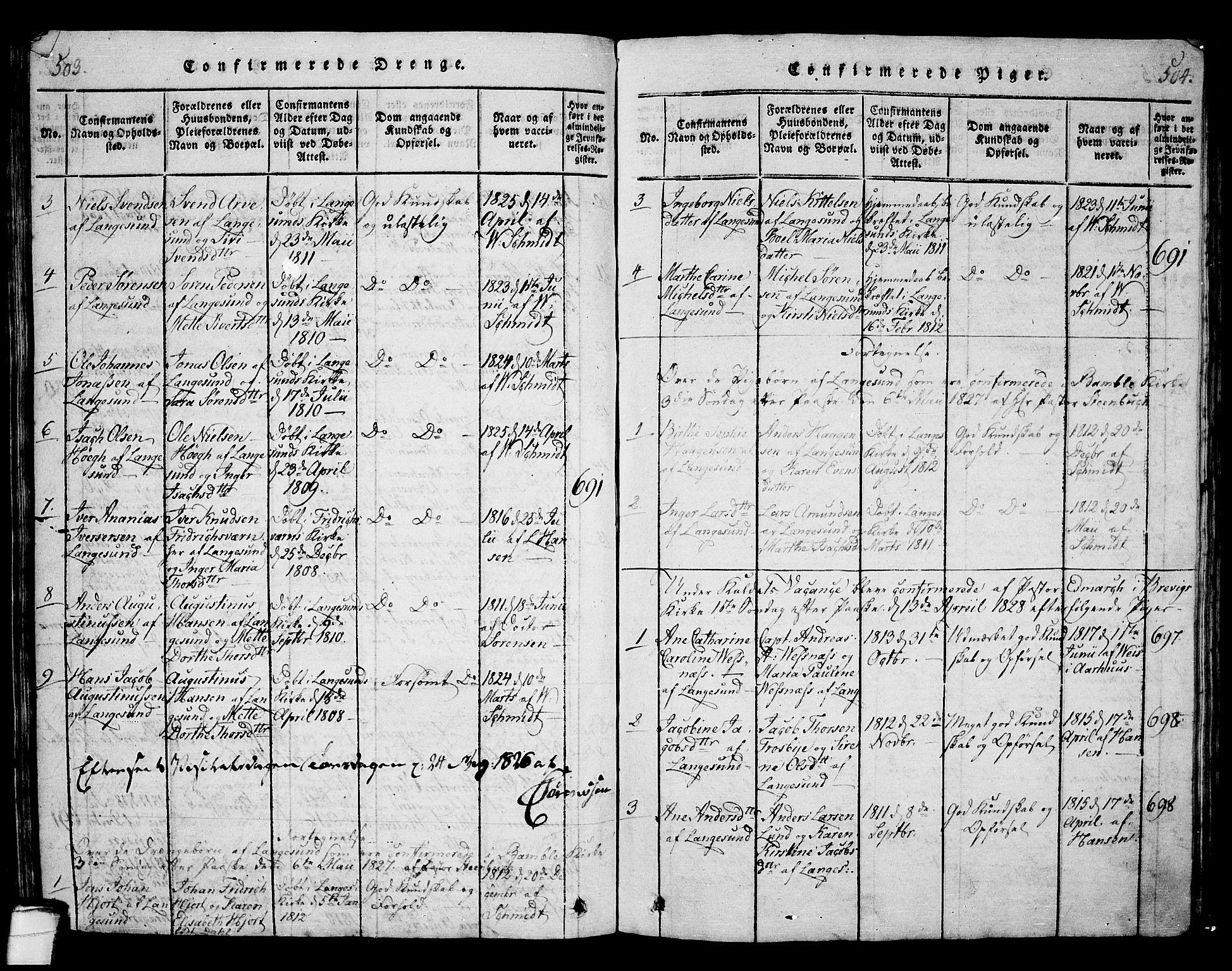 SAKO, Langesund kirkebøker, G/Ga/L0003: Klokkerbok nr. 3, 1815-1858, s. 503-504