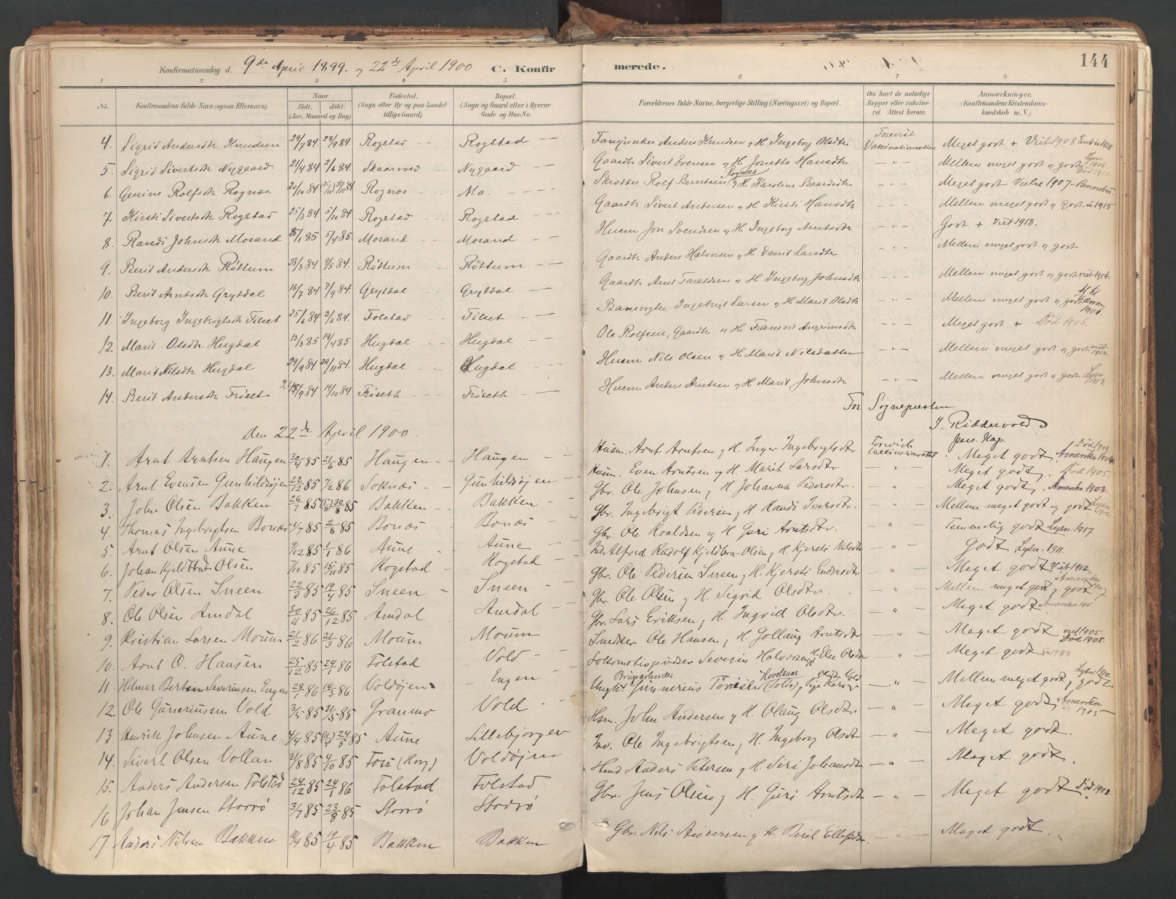 SAT, Ministerialprotokoller, klokkerbøker og fødselsregistre - Sør-Trøndelag, 687/L1004: Ministerialbok nr. 687A10, 1891-1923, s. 144
