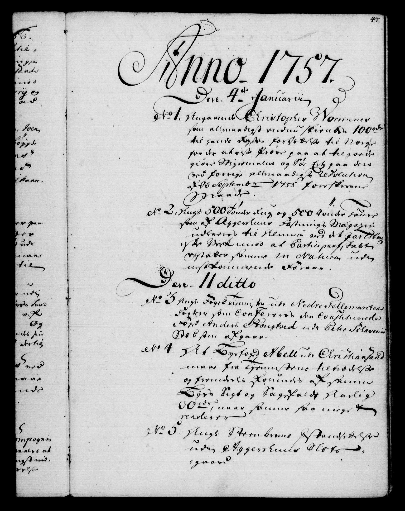 RA, Rentekammeret, Kammerkanselliet, G/Gf/Gfb/L0006: Register til norske relasjons- og resolusjonsprotokoller (merket RK 52.101), 1755-1765, s. 47