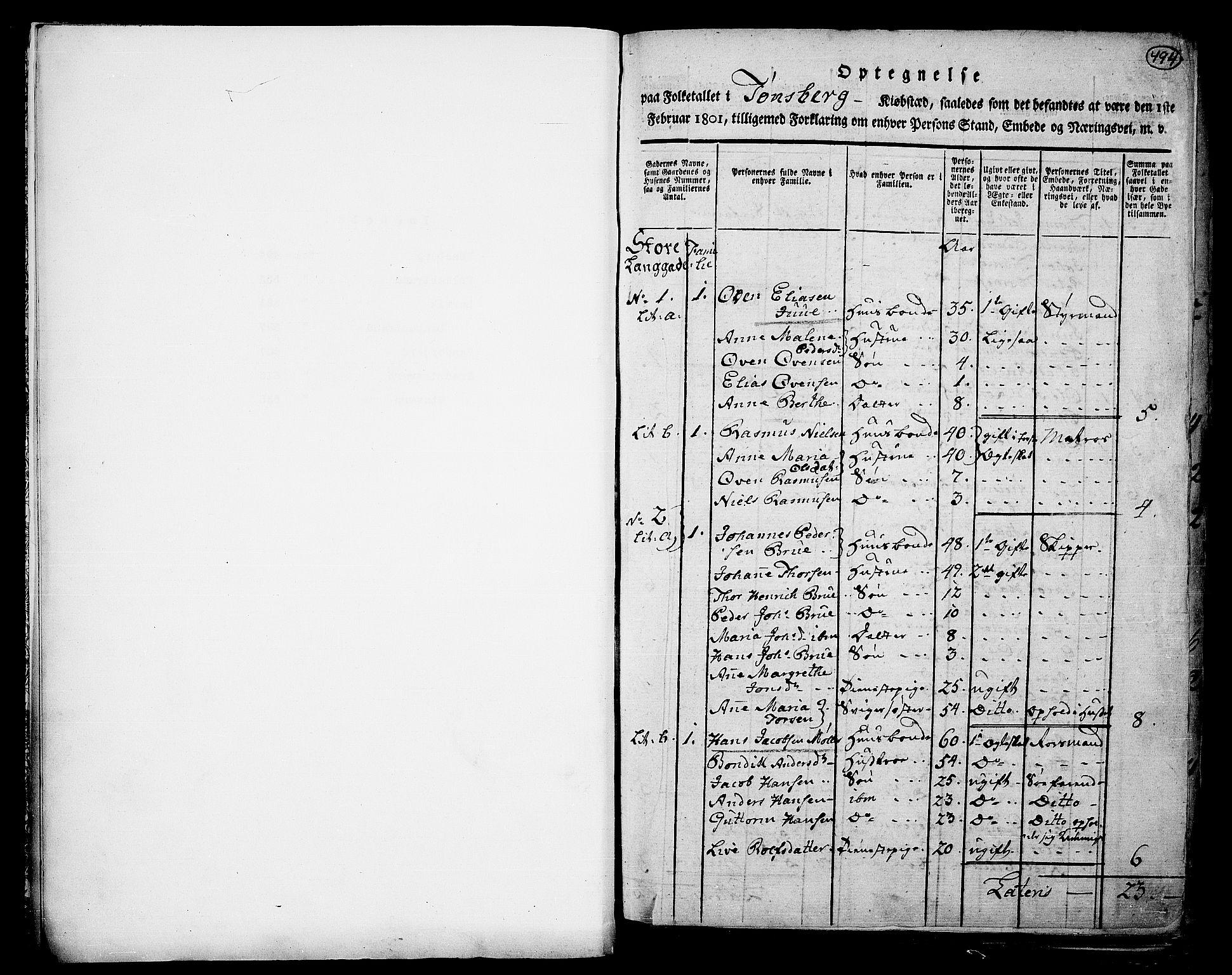 RA, Folketelling 1801 for 0705P Tønsberg prestegjeld, 1801, s. 494a