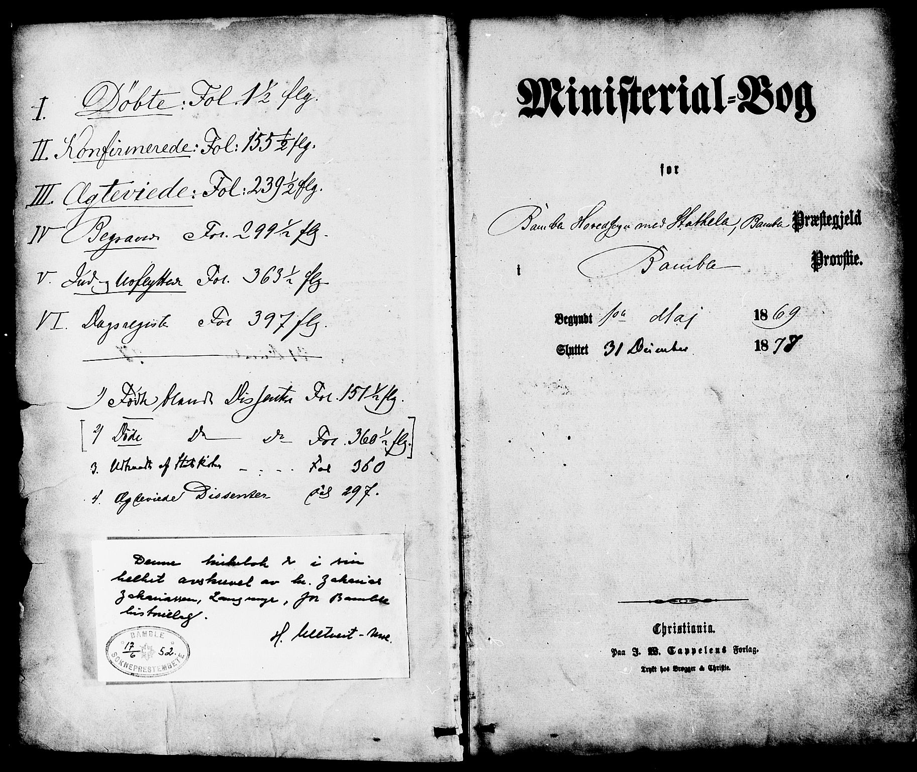 SAKO, Bamble kirkebøker, F/Fa/L0006: Ministerialbok nr. I 6, 1869-1877