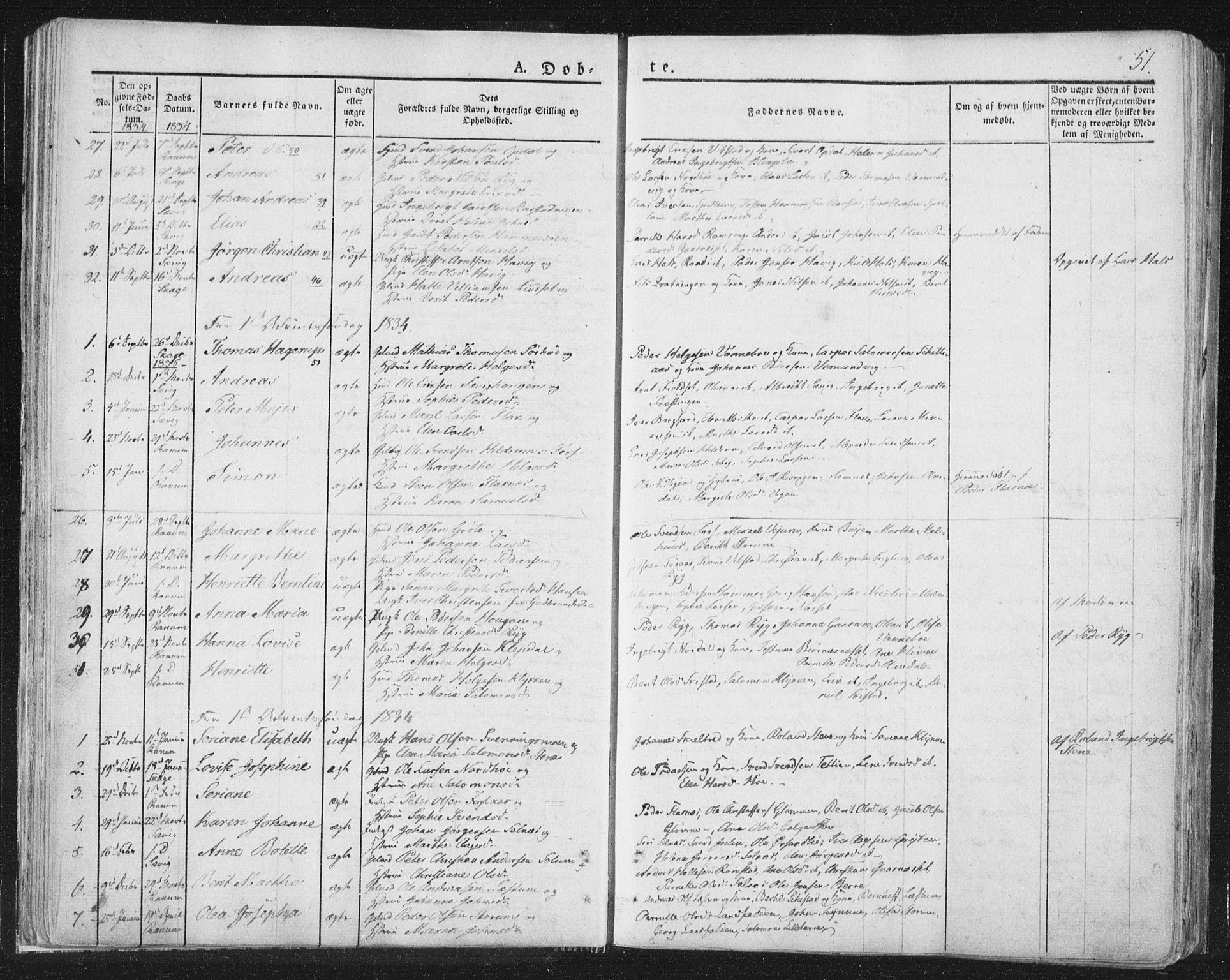 SAT, Ministerialprotokoller, klokkerbøker og fødselsregistre - Nord-Trøndelag, 764/L0551: Ministerialbok nr. 764A07a, 1824-1864, s. 51