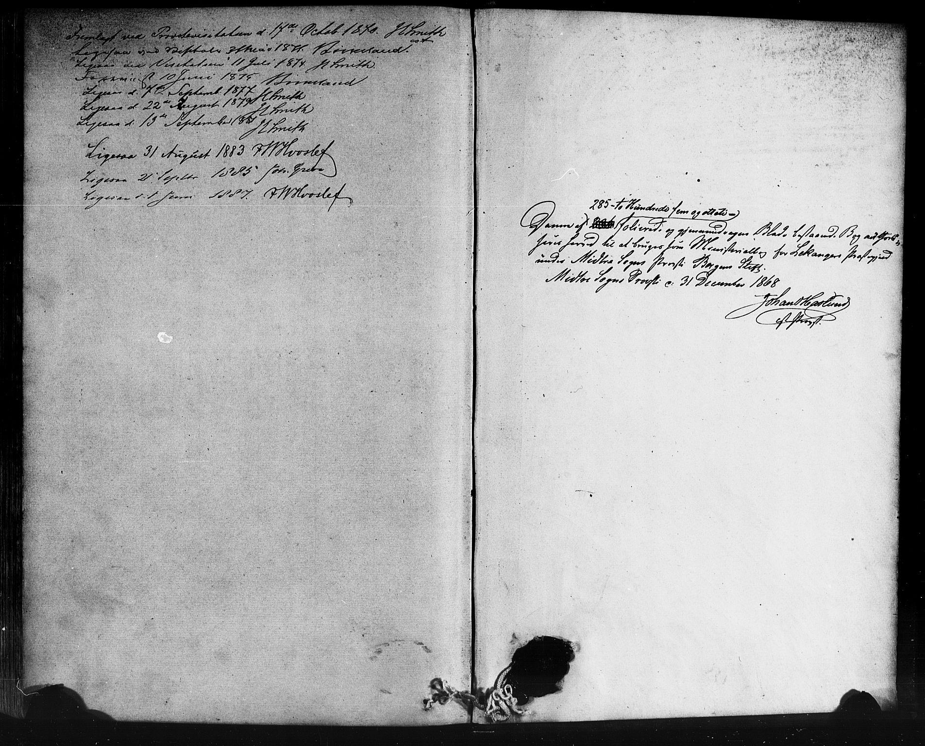 SAB, Leikanger Sokneprestembete, Ministerialbok nr. A 9, 1869-1888