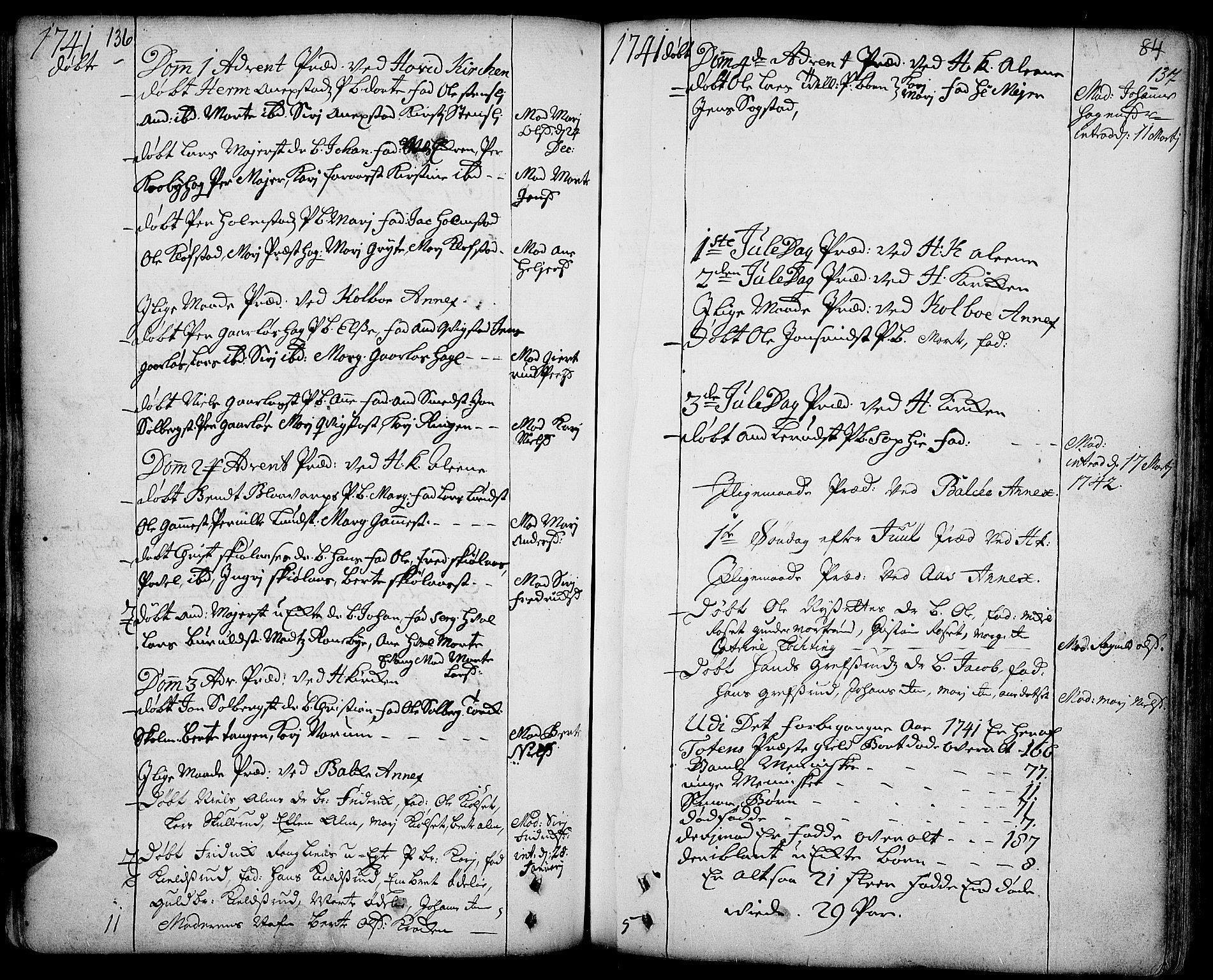 SAH, Toten prestekontor, Ministerialbok nr. 3, 1734-1751, s. 136-137