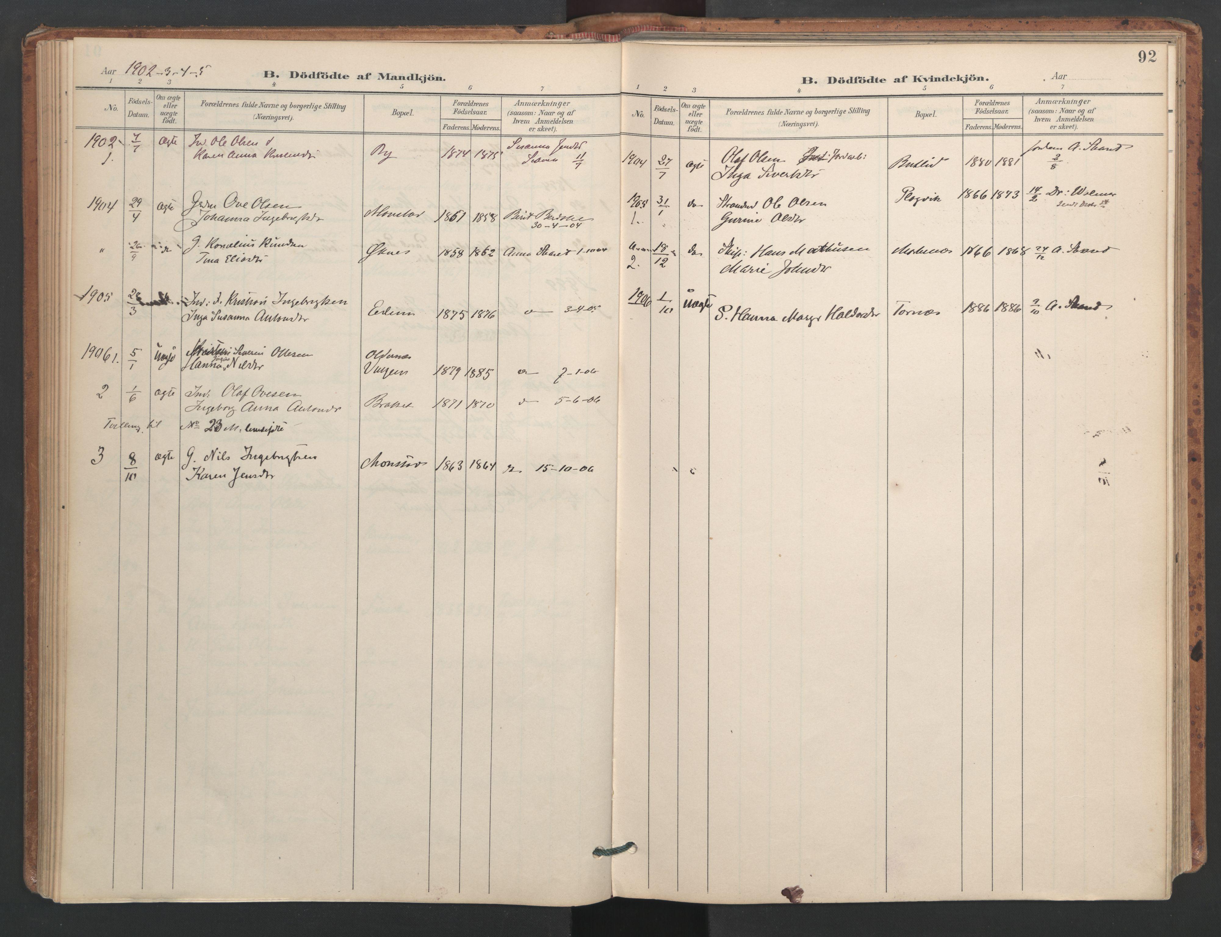 SAT, Ministerialprotokoller, klokkerbøker og fødselsregistre - Sør-Trøndelag, 655/L0681: Ministerialbok nr. 655A10, 1895-1907, s. 92