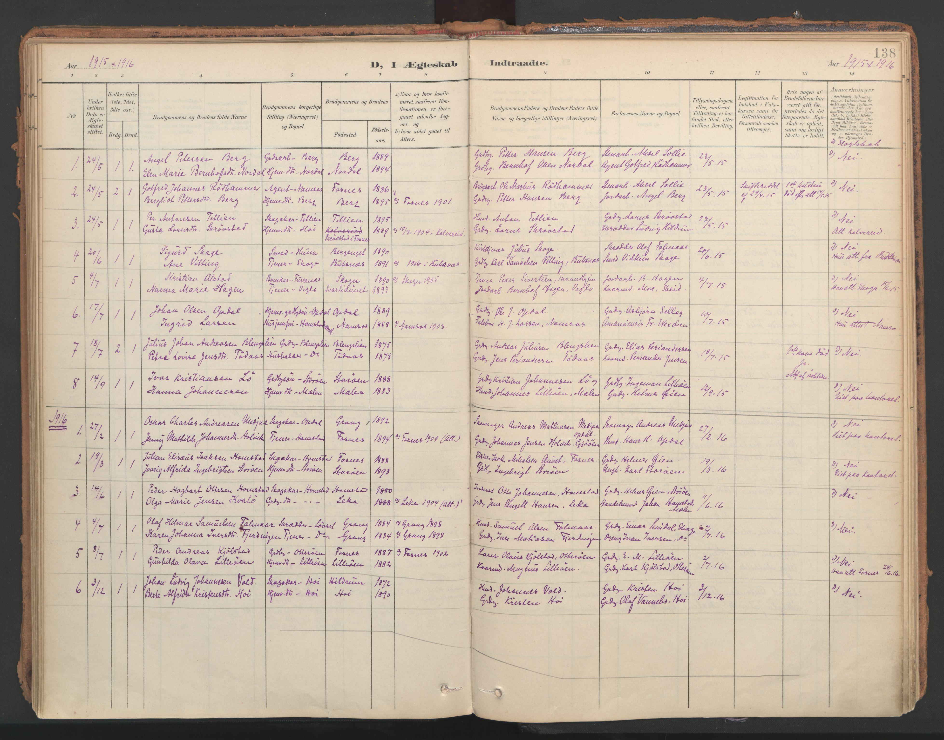 SAT, Ministerialprotokoller, klokkerbøker og fødselsregistre - Nord-Trøndelag, 766/L0564: Ministerialbok nr. 767A02, 1900-1932, s. 138