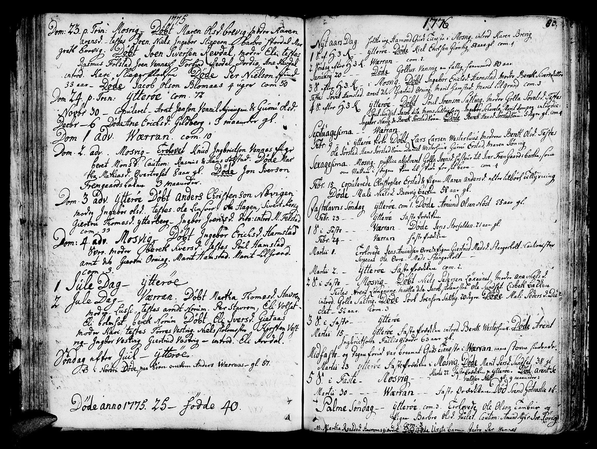 SAT, Ministerialprotokoller, klokkerbøker og fødselsregistre - Nord-Trøndelag, 722/L0216: Ministerialbok nr. 722A03, 1756-1816, s. 83