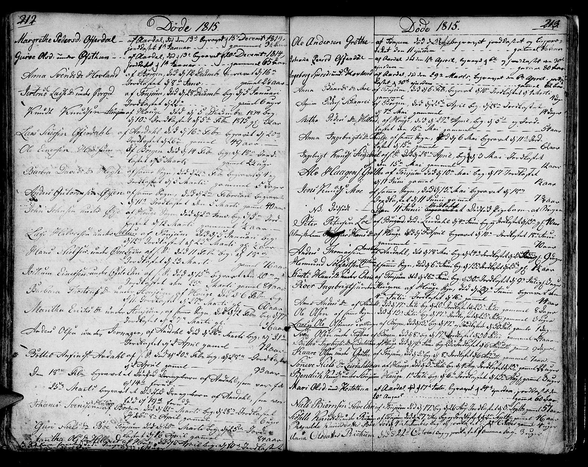 SAB, Lærdal sokneprestembete, Ministerialbok nr. A 4, 1805-1821, s. 212-213
