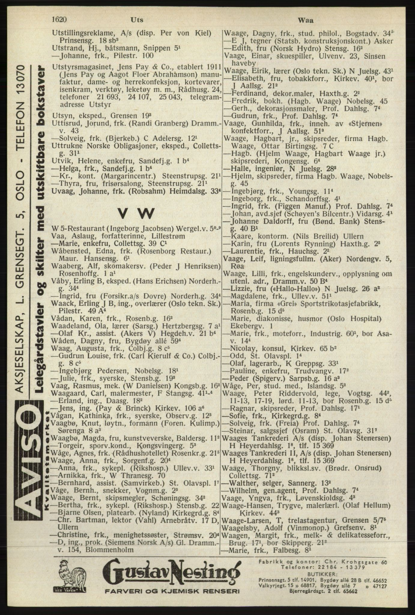 RA, Oslo adressebok (publikasjon)*, 1940, s. 1620