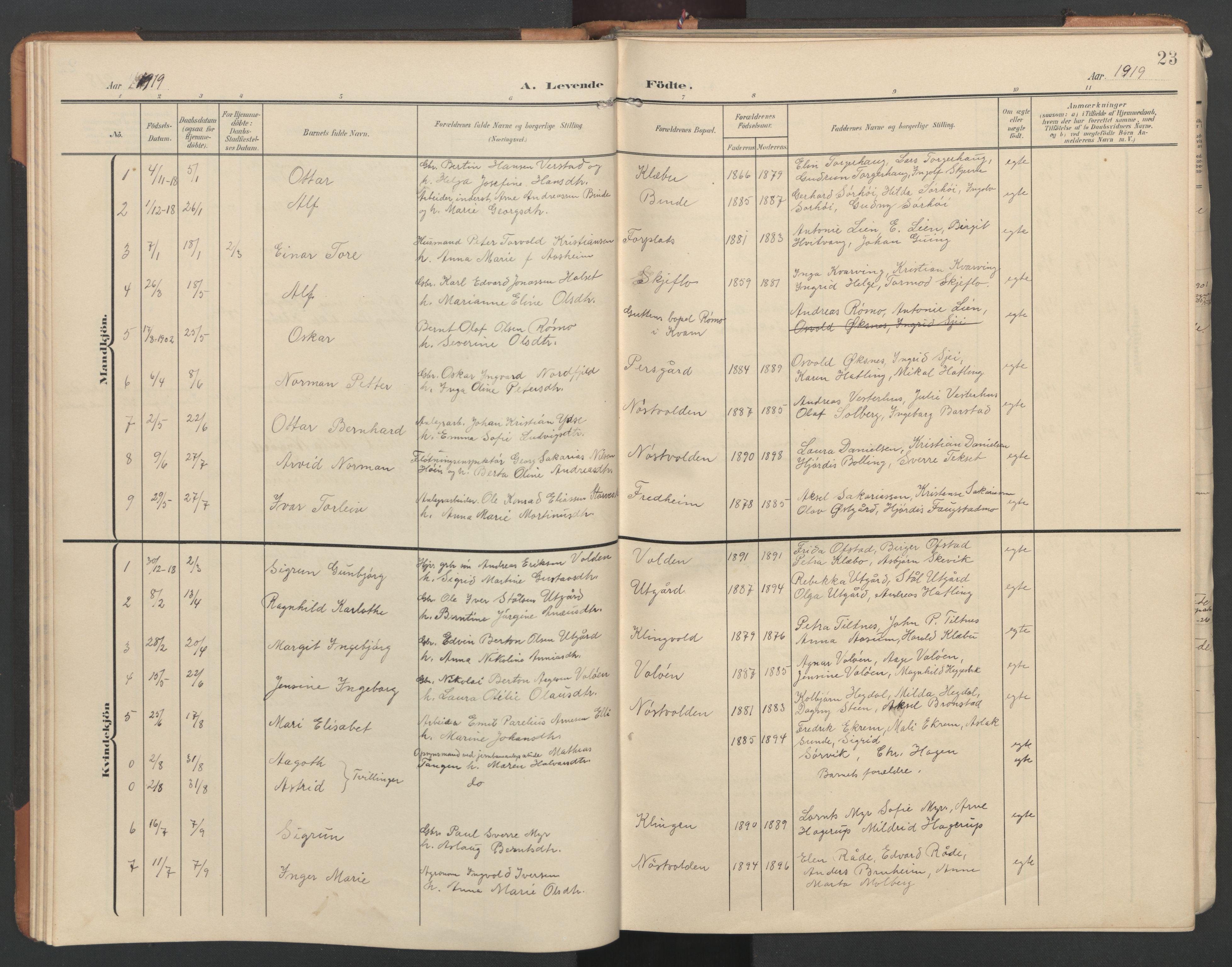 SAT, Ministerialprotokoller, klokkerbøker og fødselsregistre - Nord-Trøndelag, 746/L0455: Klokkerbok nr. 746C01, 1908-1933, s. 23