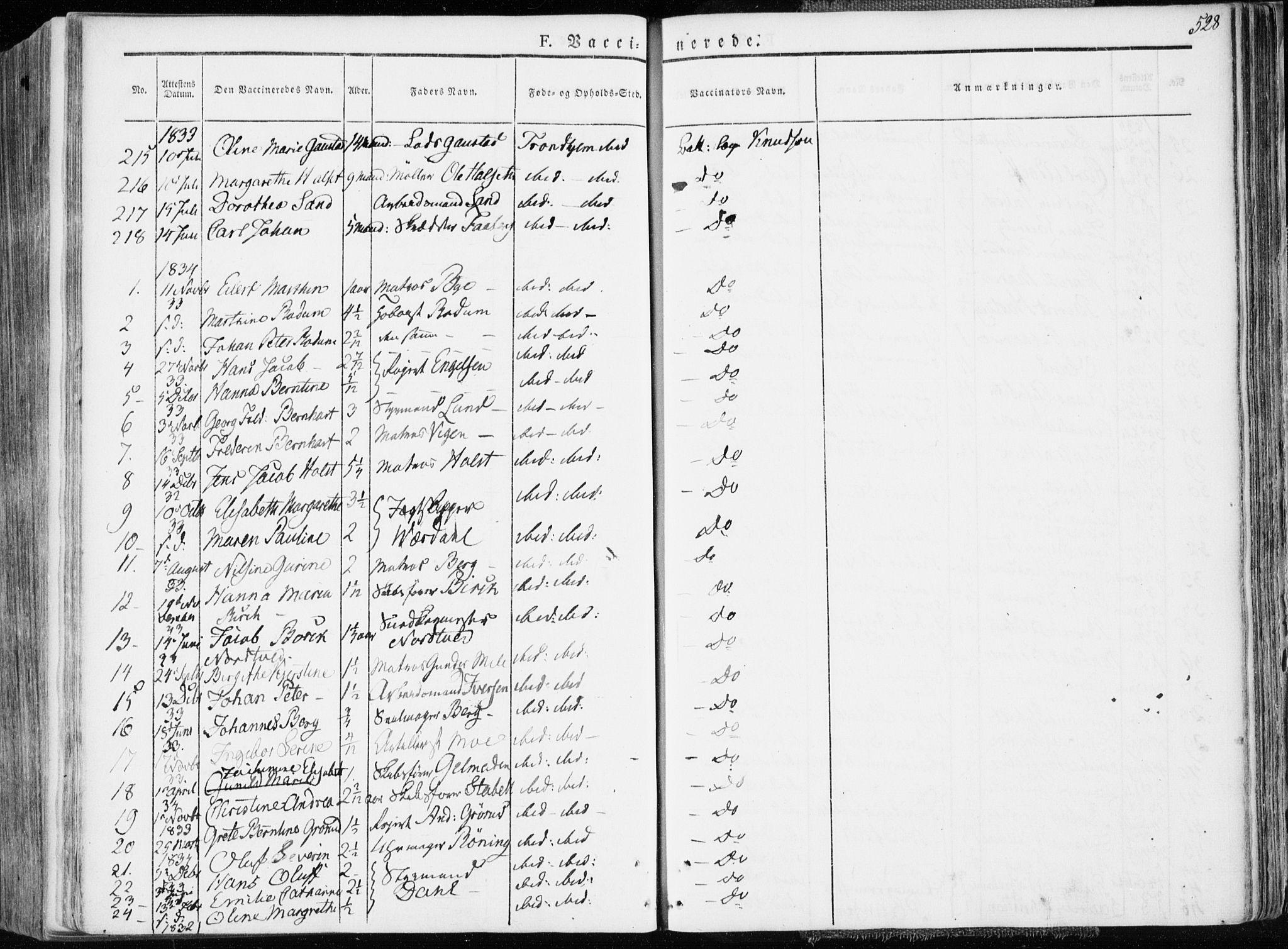 SAT, Ministerialprotokoller, klokkerbøker og fødselsregistre - Sør-Trøndelag, 601/L0047: Ministerialbok nr. 601A15, 1831-1839, s. 528
