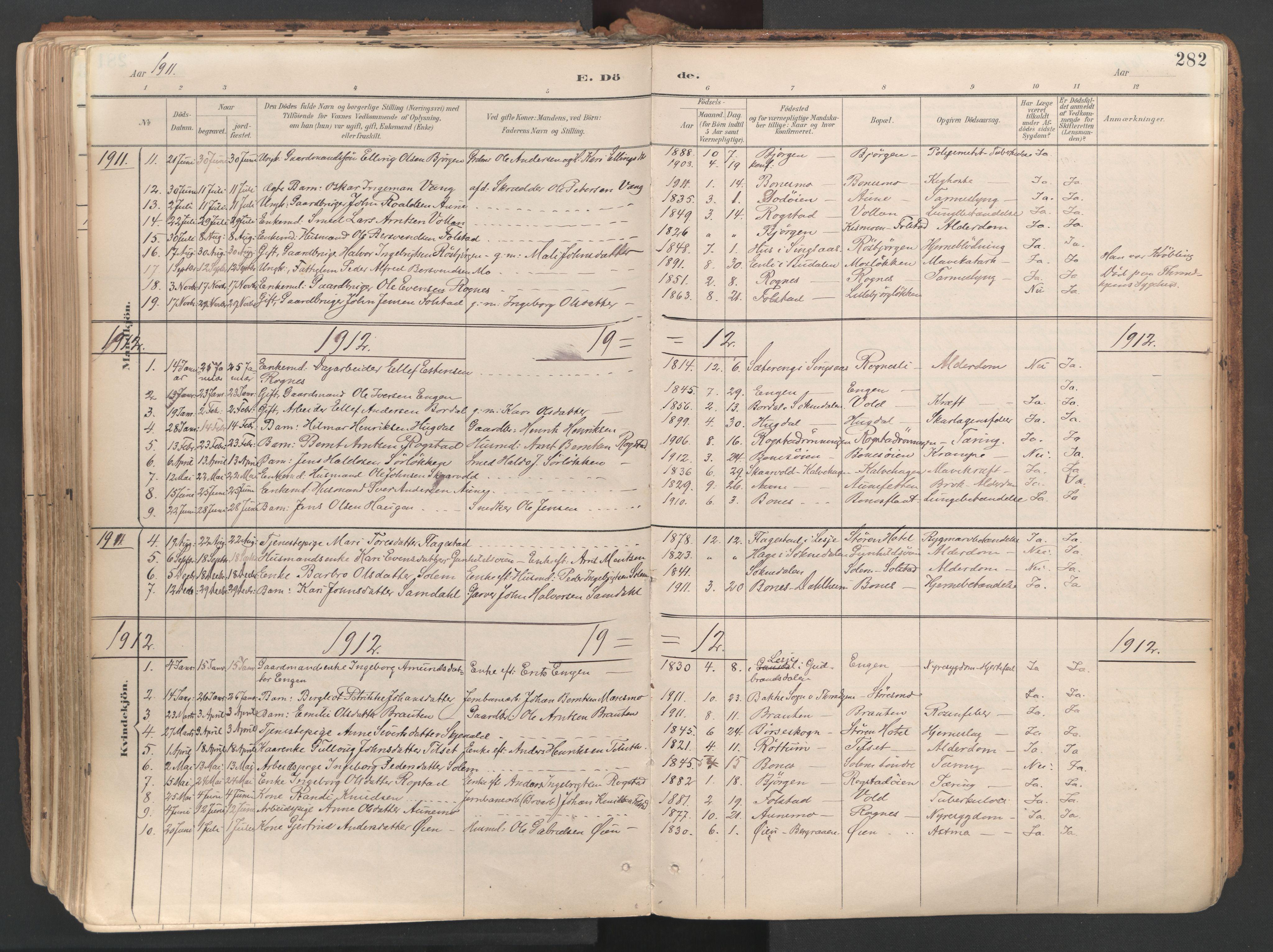 SAT, Ministerialprotokoller, klokkerbøker og fødselsregistre - Sør-Trøndelag, 687/L1004: Ministerialbok nr. 687A10, 1891-1923, s. 282