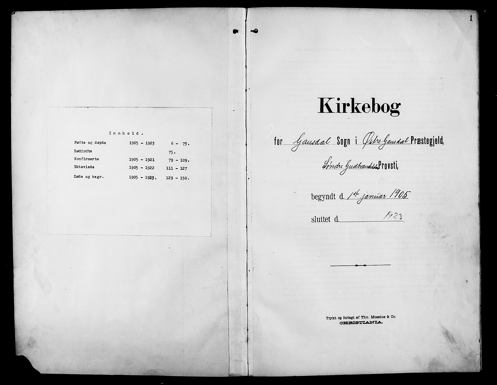 SAH, Østre Gausdal prestekontor, Klokkerbok nr. 4, 1905-1923, s. 1