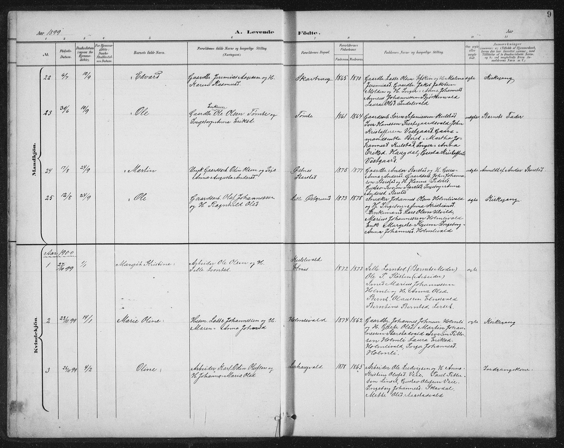 SAT, Ministerialprotokoller, klokkerbøker og fødselsregistre - Nord-Trøndelag, 724/L0269: Klokkerbok nr. 724C05, 1899-1920, s. 9