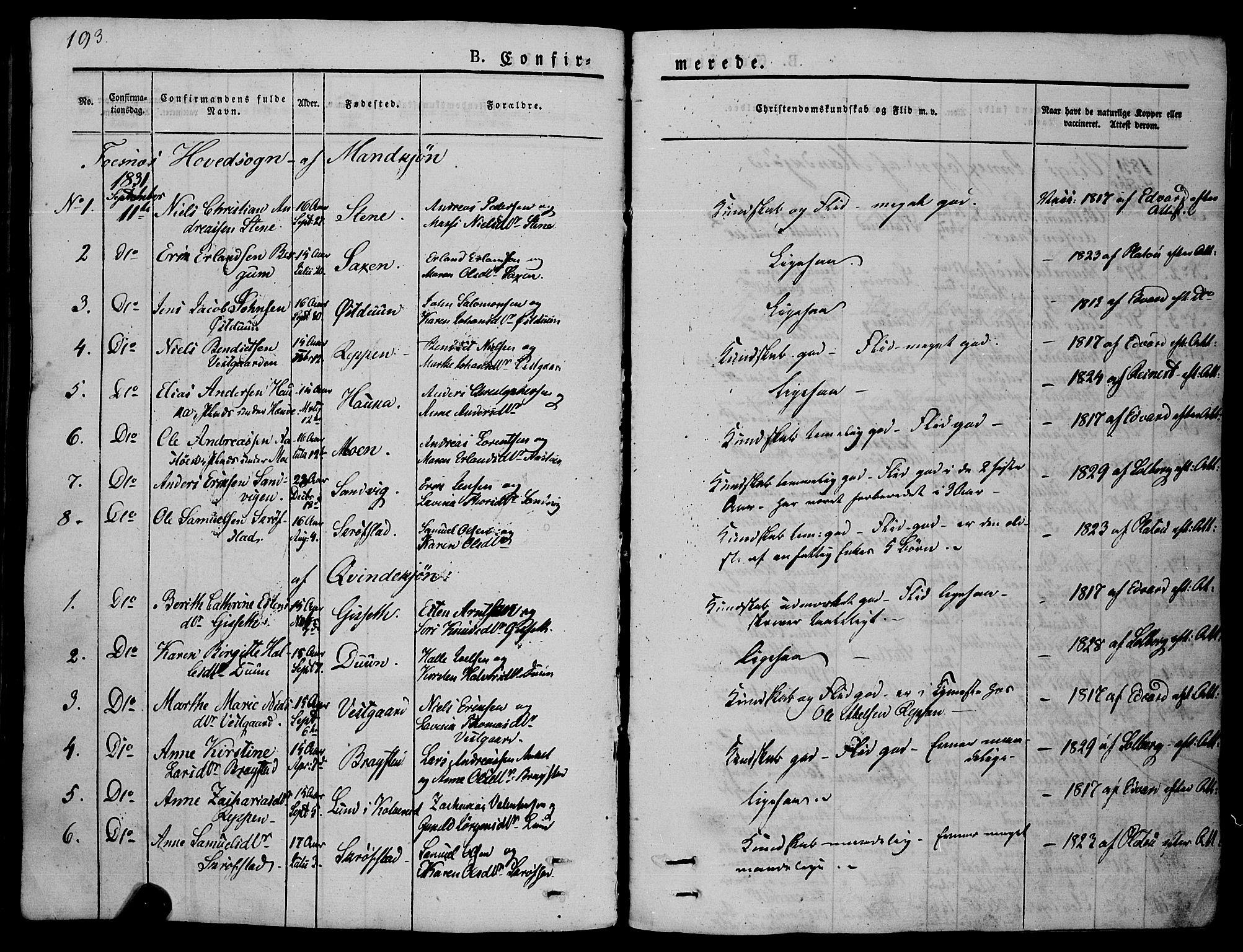 SAT, Ministerialprotokoller, klokkerbøker og fødselsregistre - Nord-Trøndelag, 773/L0614: Ministerialbok nr. 773A05, 1831-1856, s. 193