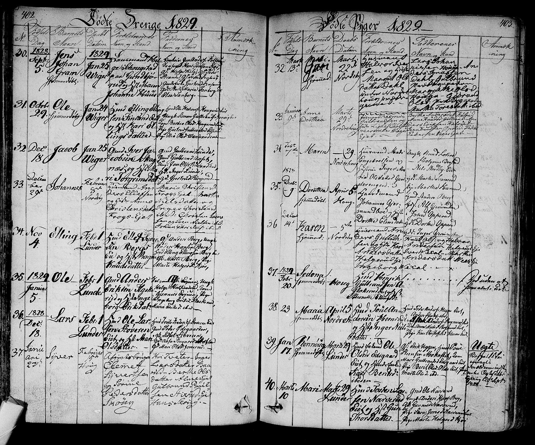 SAKO, Norderhov kirkebøker, F/Fa/L0009: Ministerialbok nr. 9, 1819-1837, s. 402-403