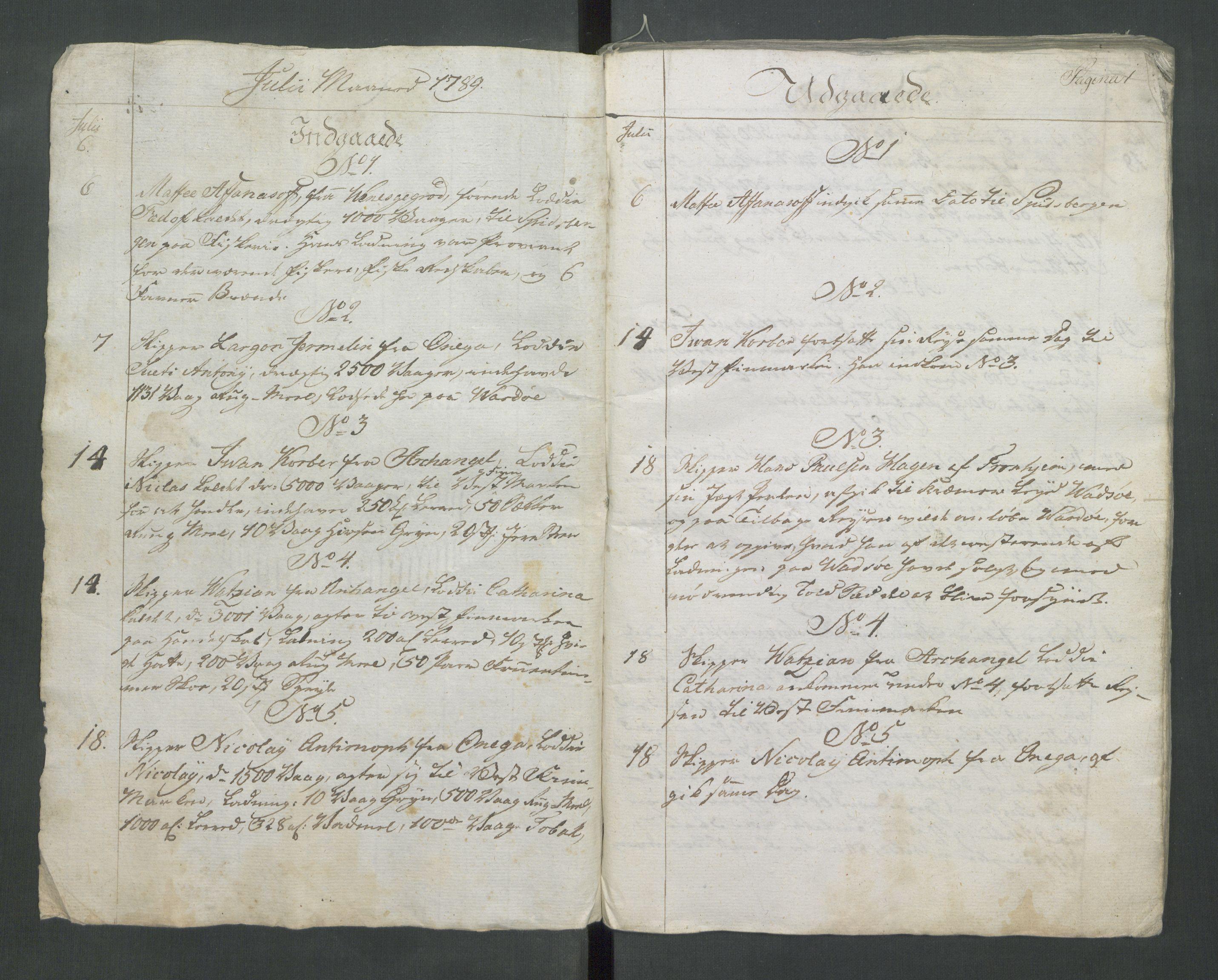 RA, Generaltollkammeret, tollregnskaper, R37/L0001: Tollregnskaper Vardø, 1789-1794, s. 1a