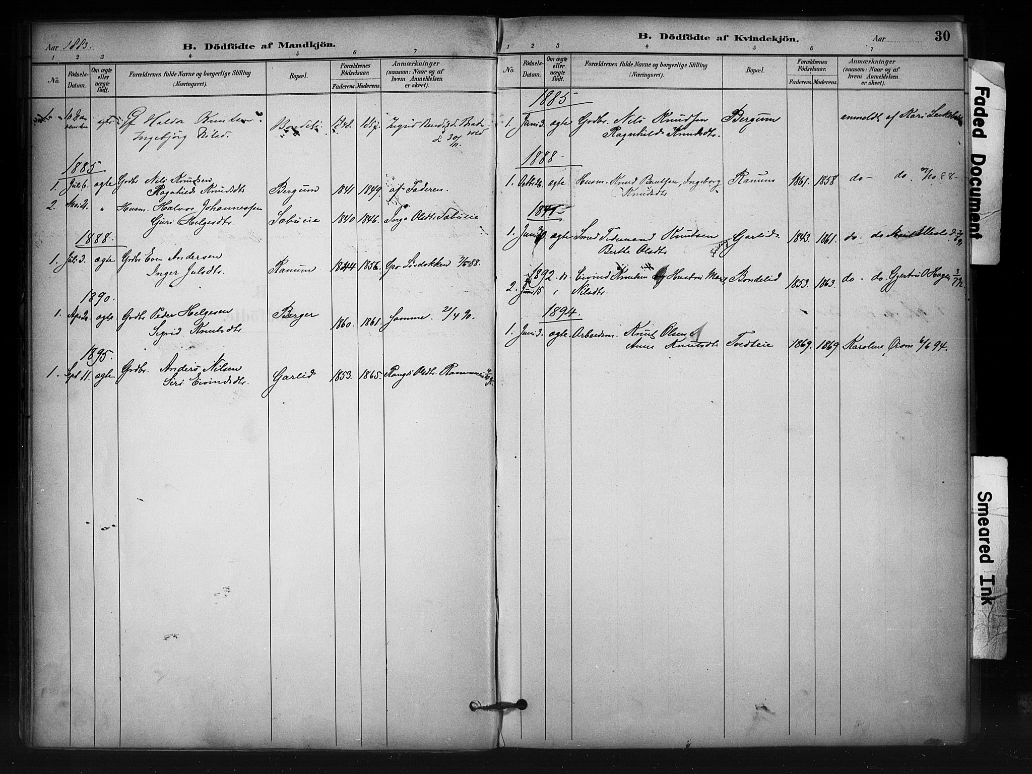 SAH, Nord-Aurdal prestekontor, Ministerialbok nr. 12, 1883-1895, s. 30