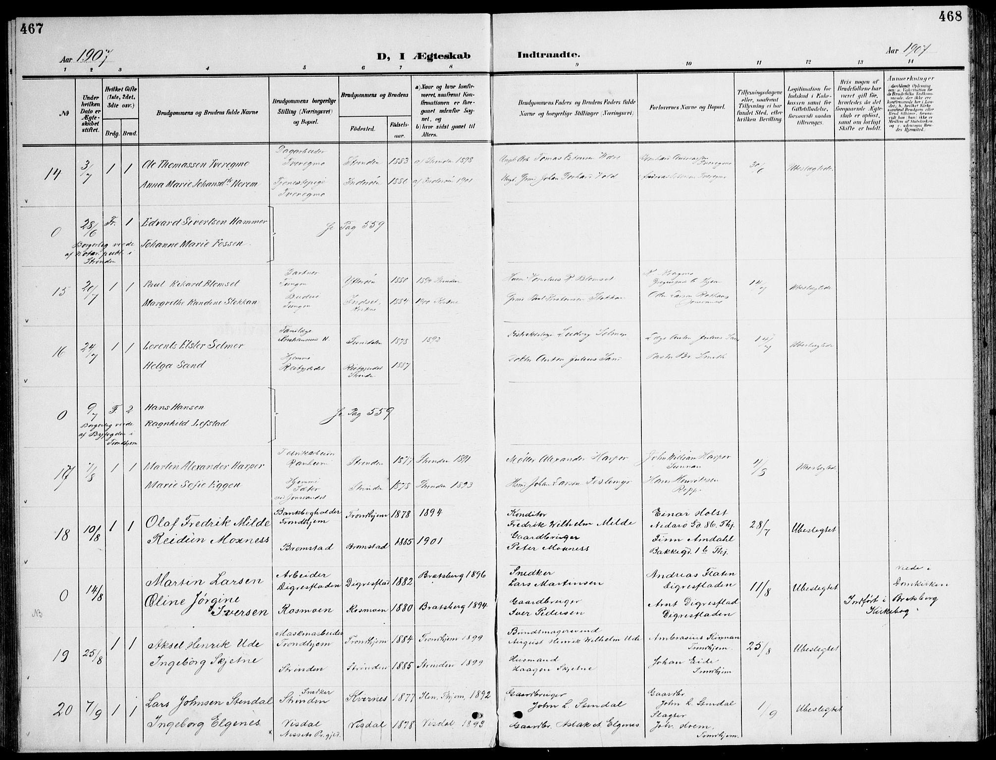 SAT, Ministerialprotokoller, klokkerbøker og fødselsregistre - Sør-Trøndelag, 607/L0320: Ministerialbok nr. 607A04, 1907-1915, s. 467-468