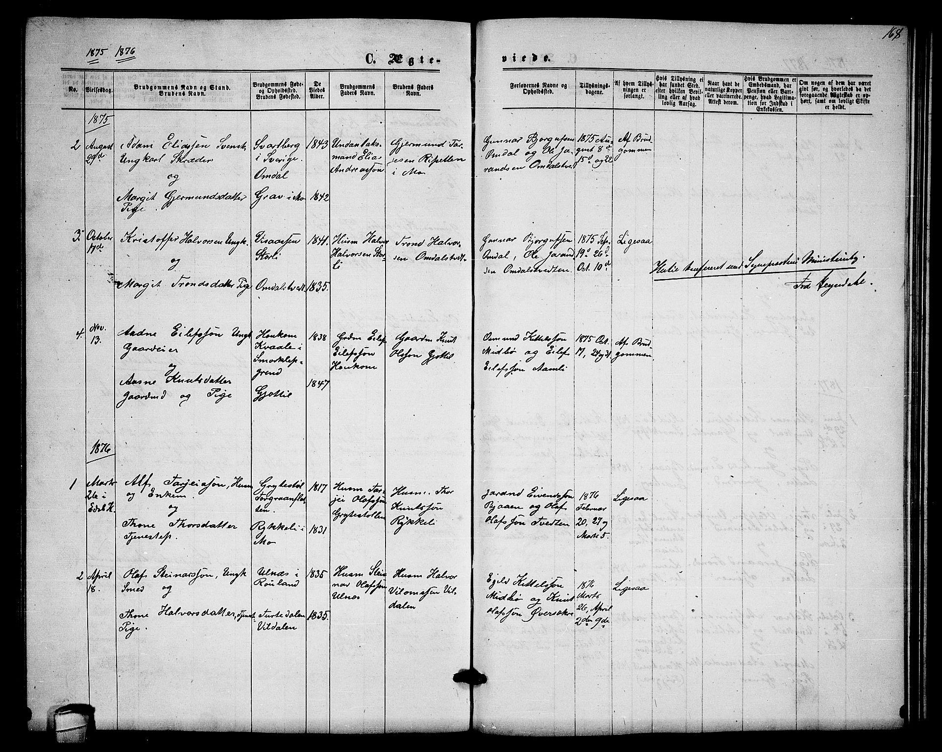 SAKO, Lårdal kirkebøker, G/Gb/L0002: Klokkerbok nr. II 2, 1865-1888, s. 168