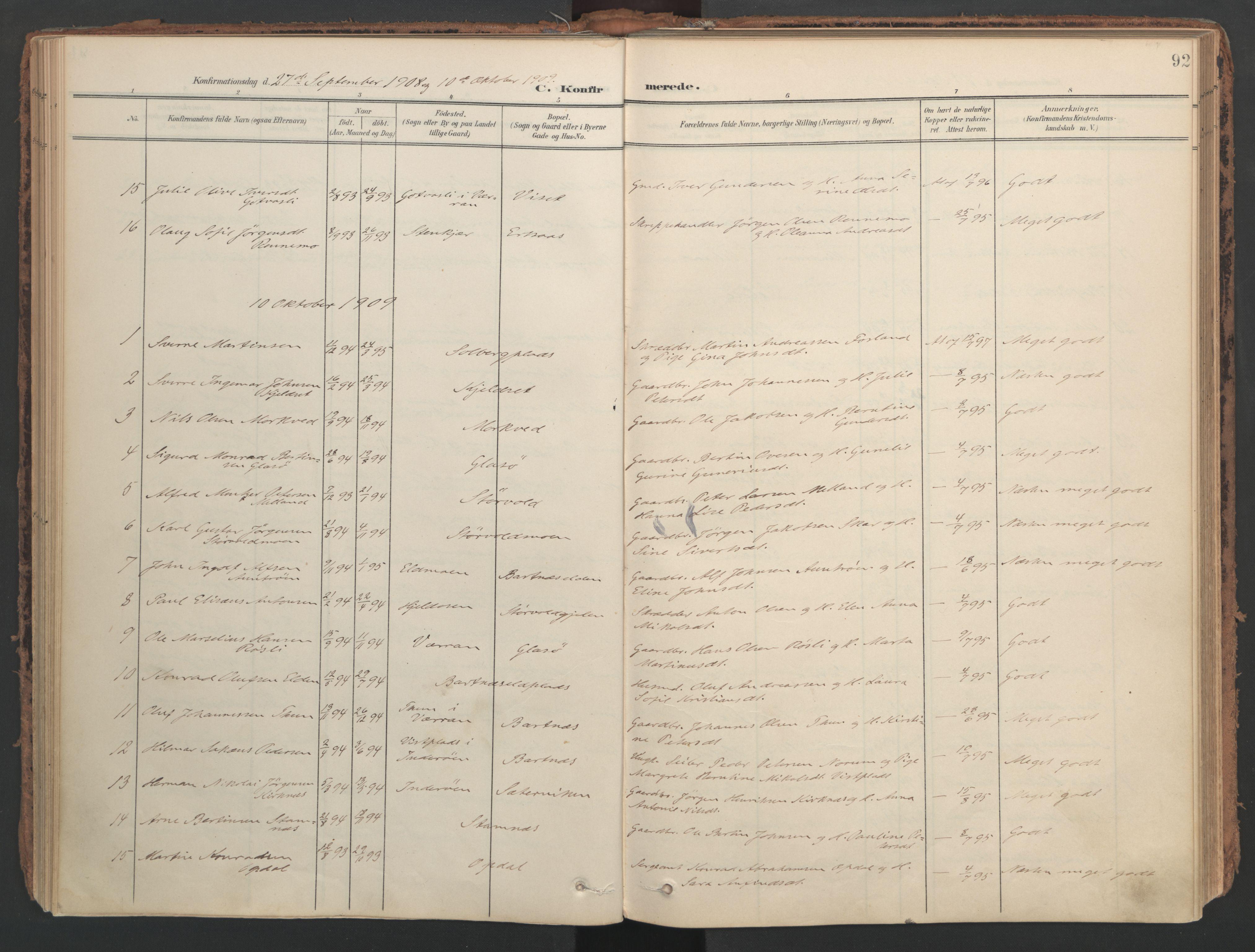 SAT, Ministerialprotokoller, klokkerbøker og fødselsregistre - Nord-Trøndelag, 741/L0397: Ministerialbok nr. 741A11, 1901-1911, s. 92
