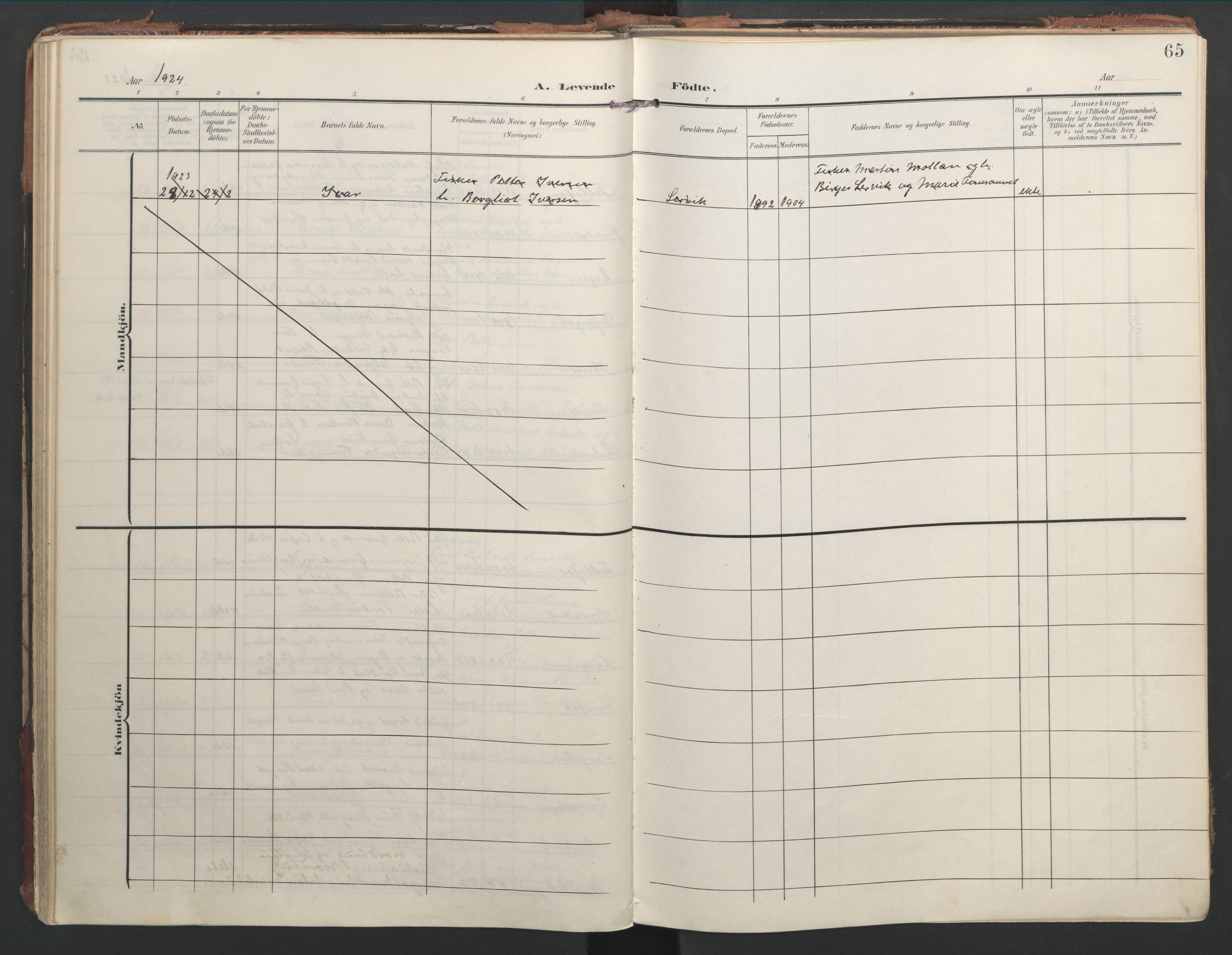 SAT, Ministerialprotokoller, klokkerbøker og fødselsregistre - Nord-Trøndelag, 744/L0421: Ministerialbok nr. 744A05, 1905-1930, s. 65
