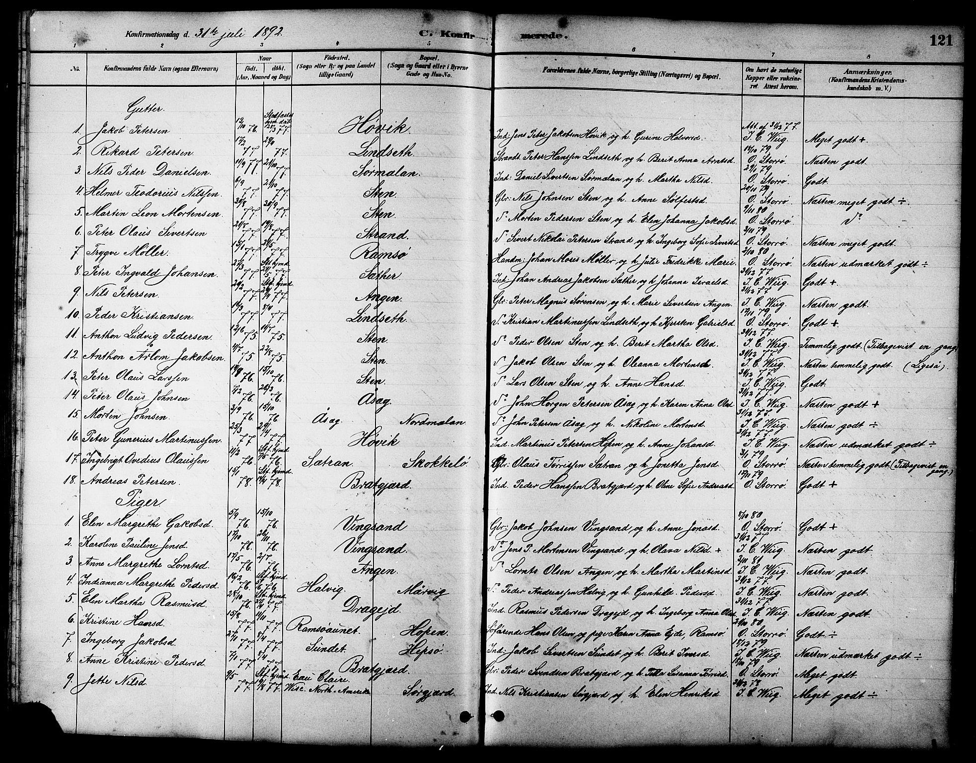 SAT, Ministerialprotokoller, klokkerbøker og fødselsregistre - Sør-Trøndelag, 658/L0726: Klokkerbok nr. 658C02, 1883-1908, s. 121