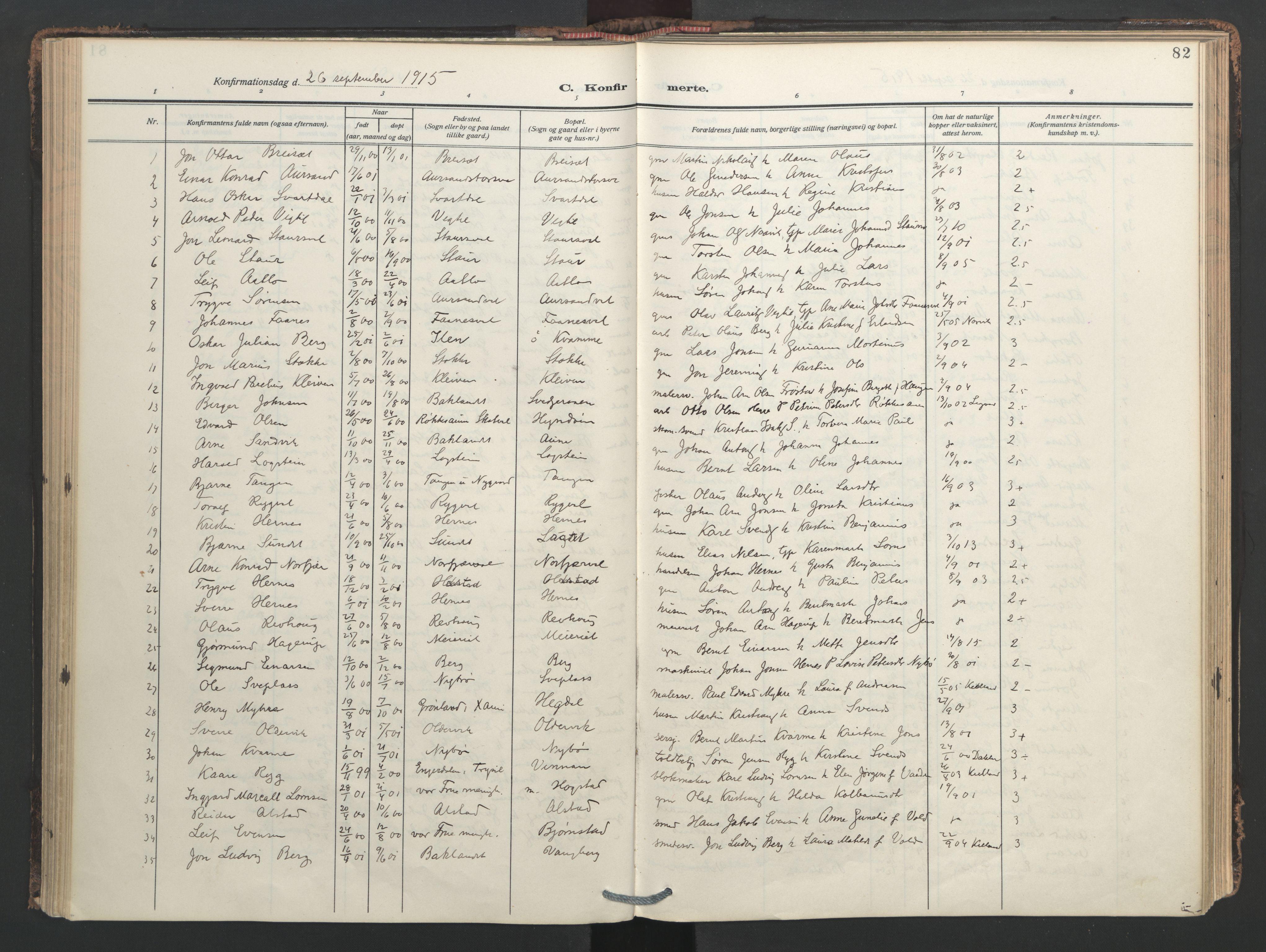SAT, Ministerialprotokoller, klokkerbøker og fødselsregistre - Nord-Trøndelag, 713/L0123: Ministerialbok nr. 713A12, 1911-1925, s. 82