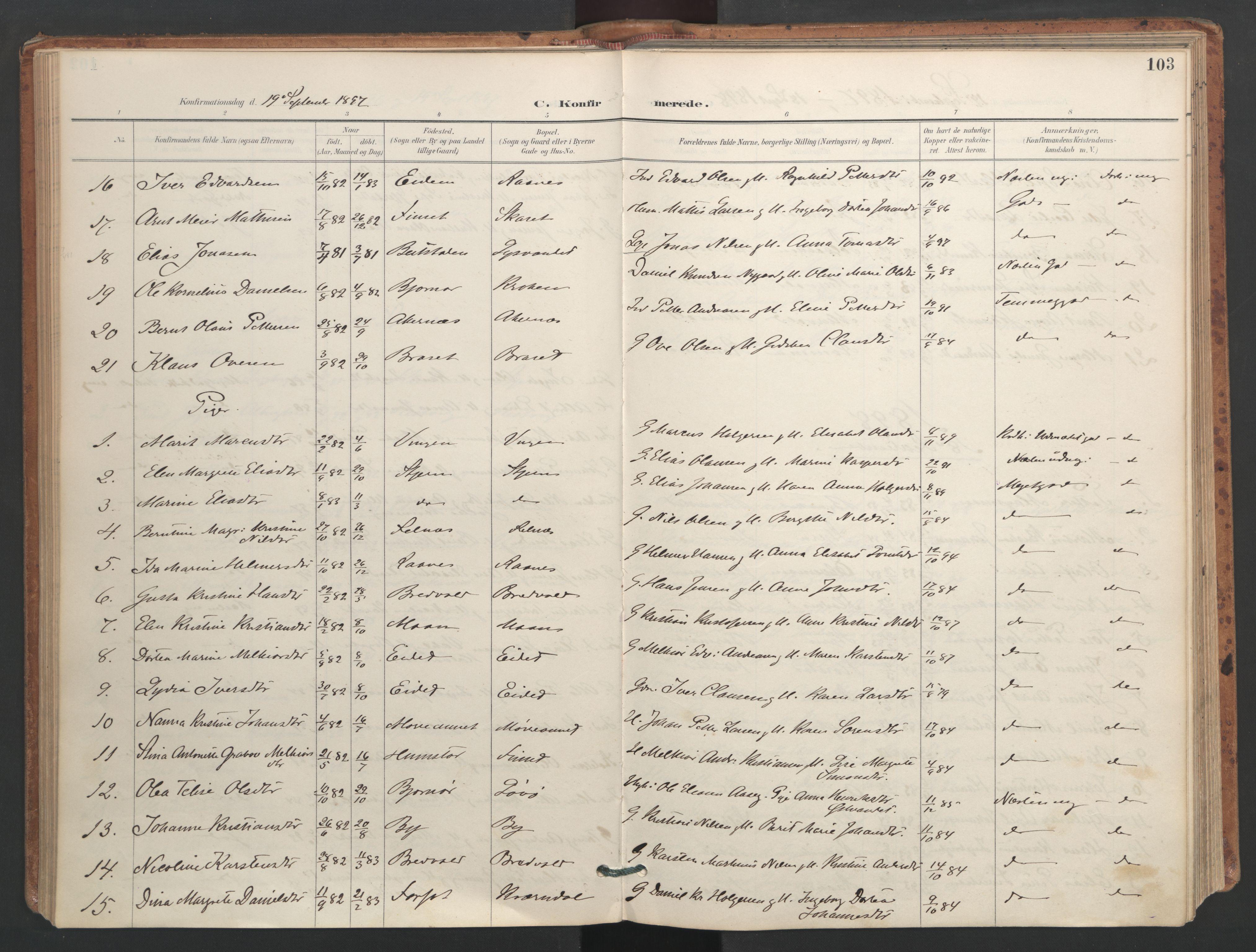 SAT, Ministerialprotokoller, klokkerbøker og fødselsregistre - Sør-Trøndelag, 655/L0681: Ministerialbok nr. 655A10, 1895-1907, s. 103