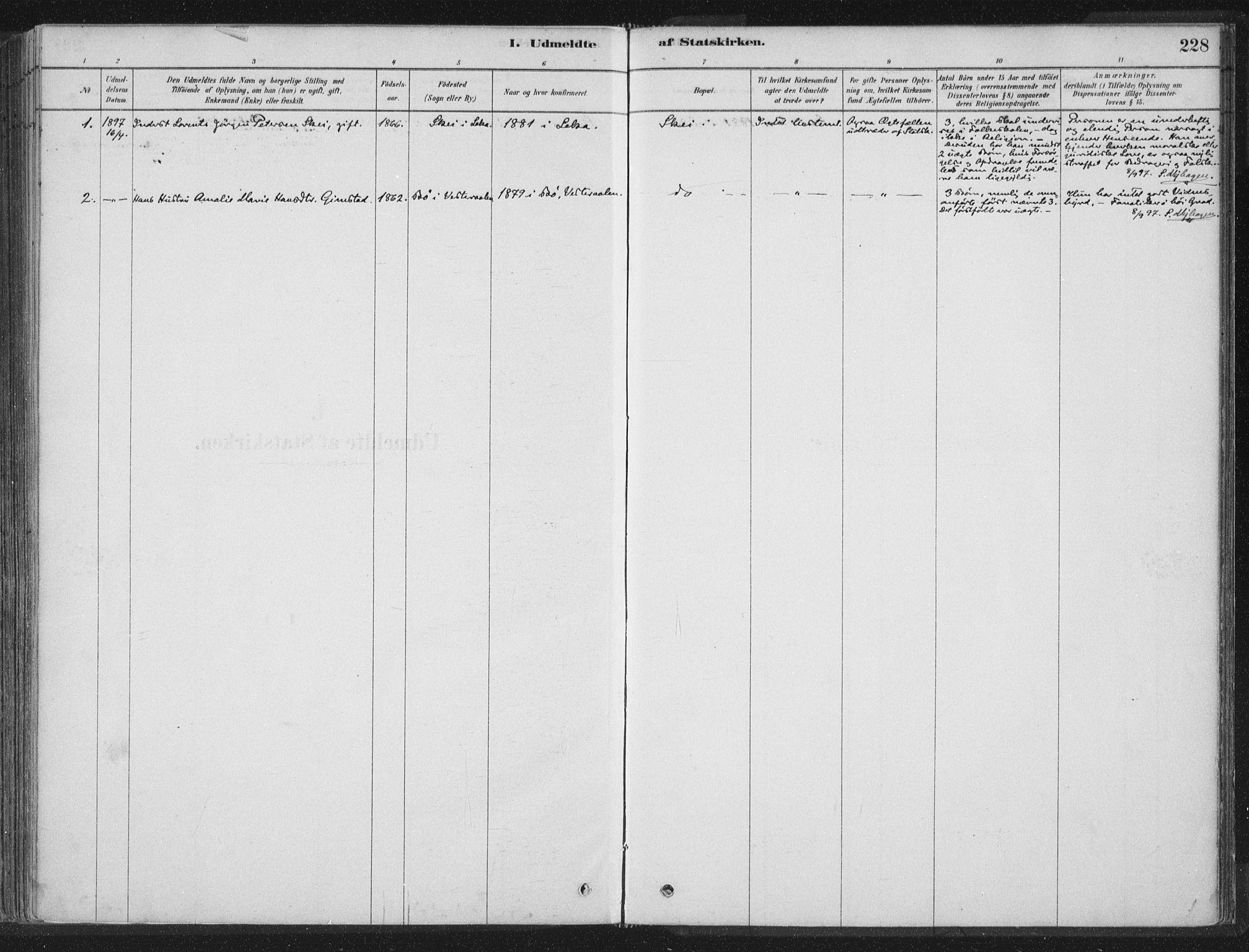 SAT, Ministerialprotokoller, klokkerbøker og fødselsregistre - Nord-Trøndelag, 788/L0697: Ministerialbok nr. 788A04, 1878-1902, s. 228