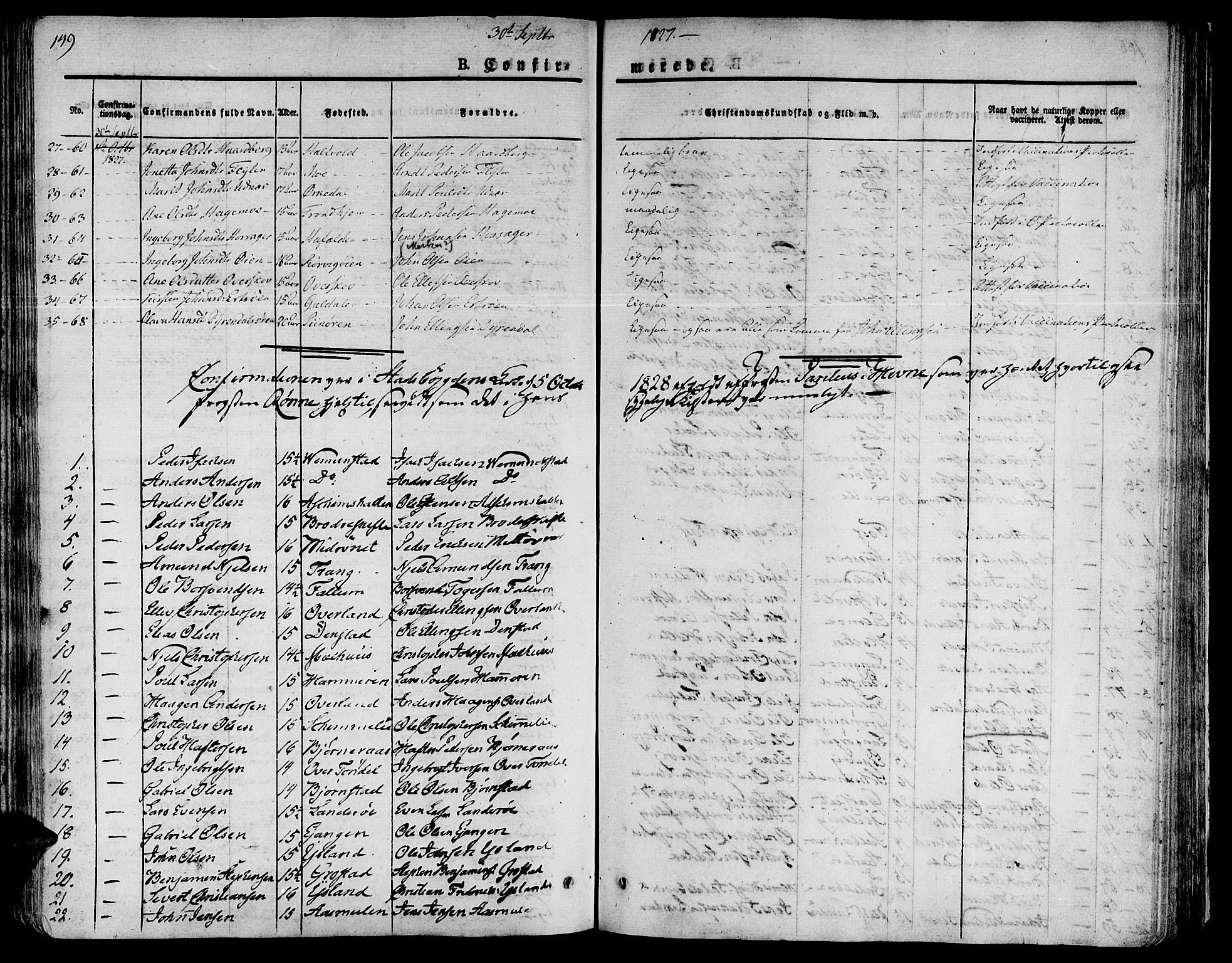 SAT, Ministerialprotokoller, klokkerbøker og fødselsregistre - Sør-Trøndelag, 646/L0609: Ministerialbok nr. 646A07, 1826-1838, s. 149