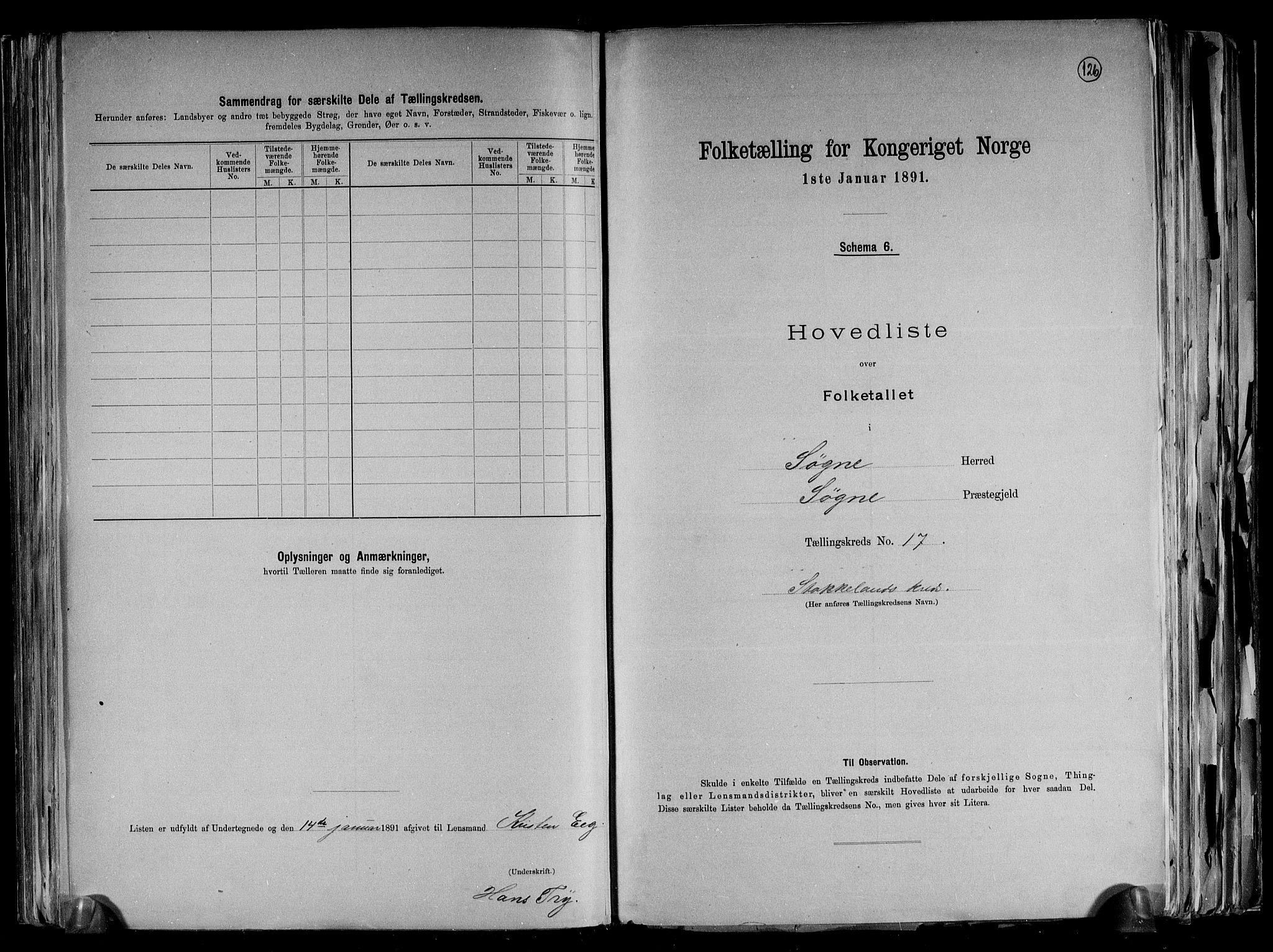 RA, Folketelling 1891 for 1018 Søgne herred, 1891, s. 42
