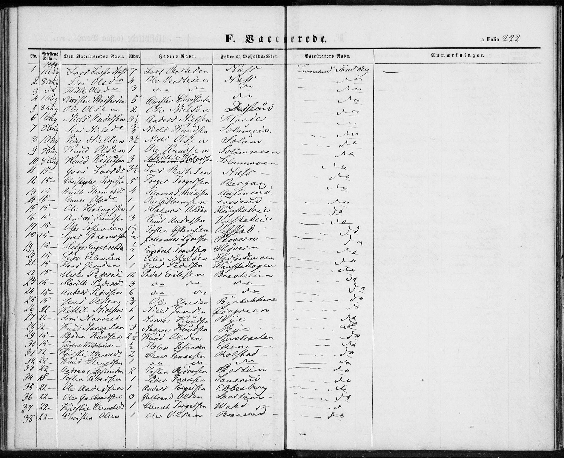 SAKO, Sigdal kirkebøker, F/Fa/L0007: Ministerialbok nr. I 7, 1844-1849, s. 222