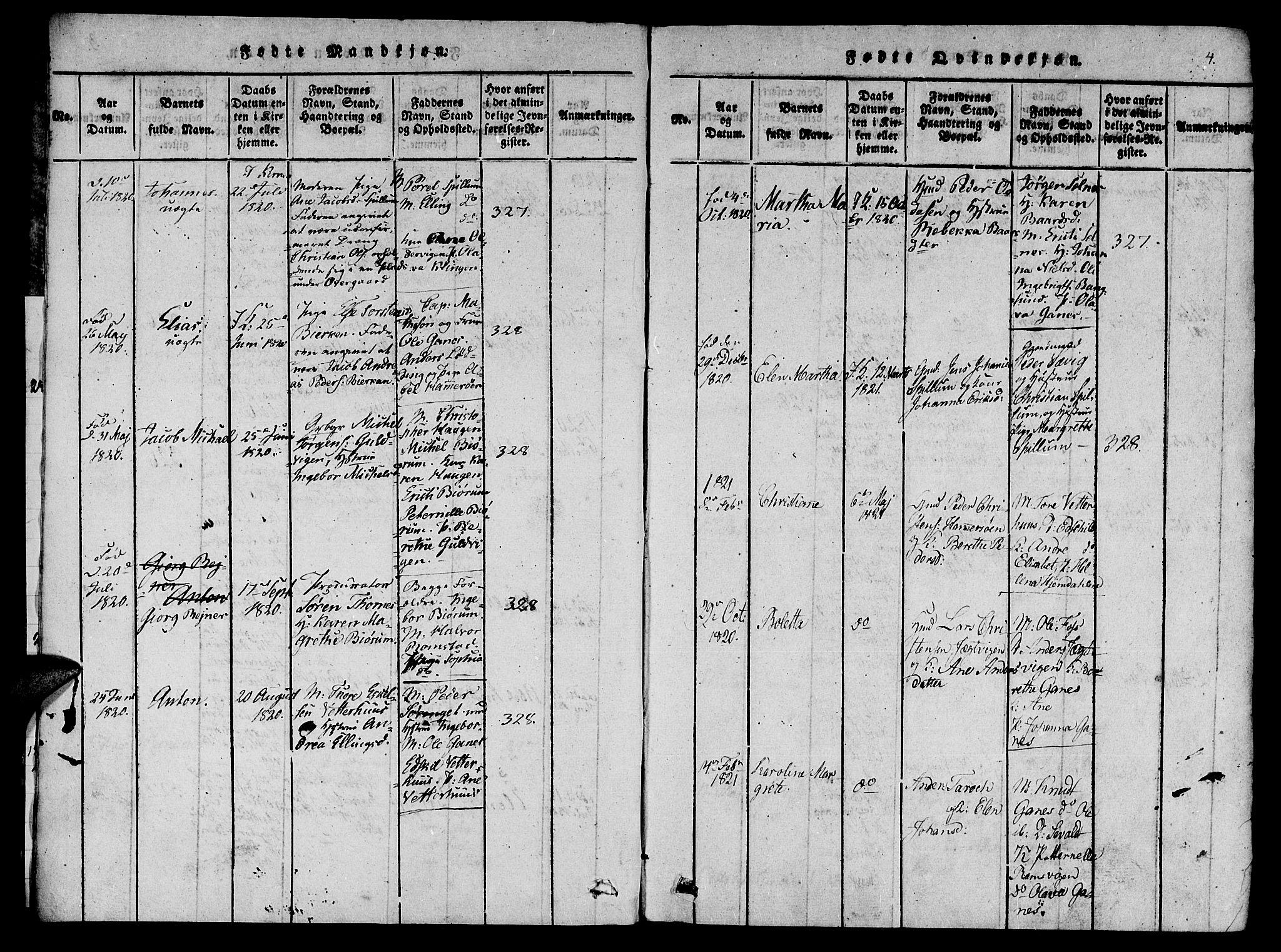 SAT, Ministerialprotokoller, klokkerbøker og fødselsregistre - Nord-Trøndelag, 770/L0588: Ministerialbok nr. 770A02, 1819-1823, s. 4