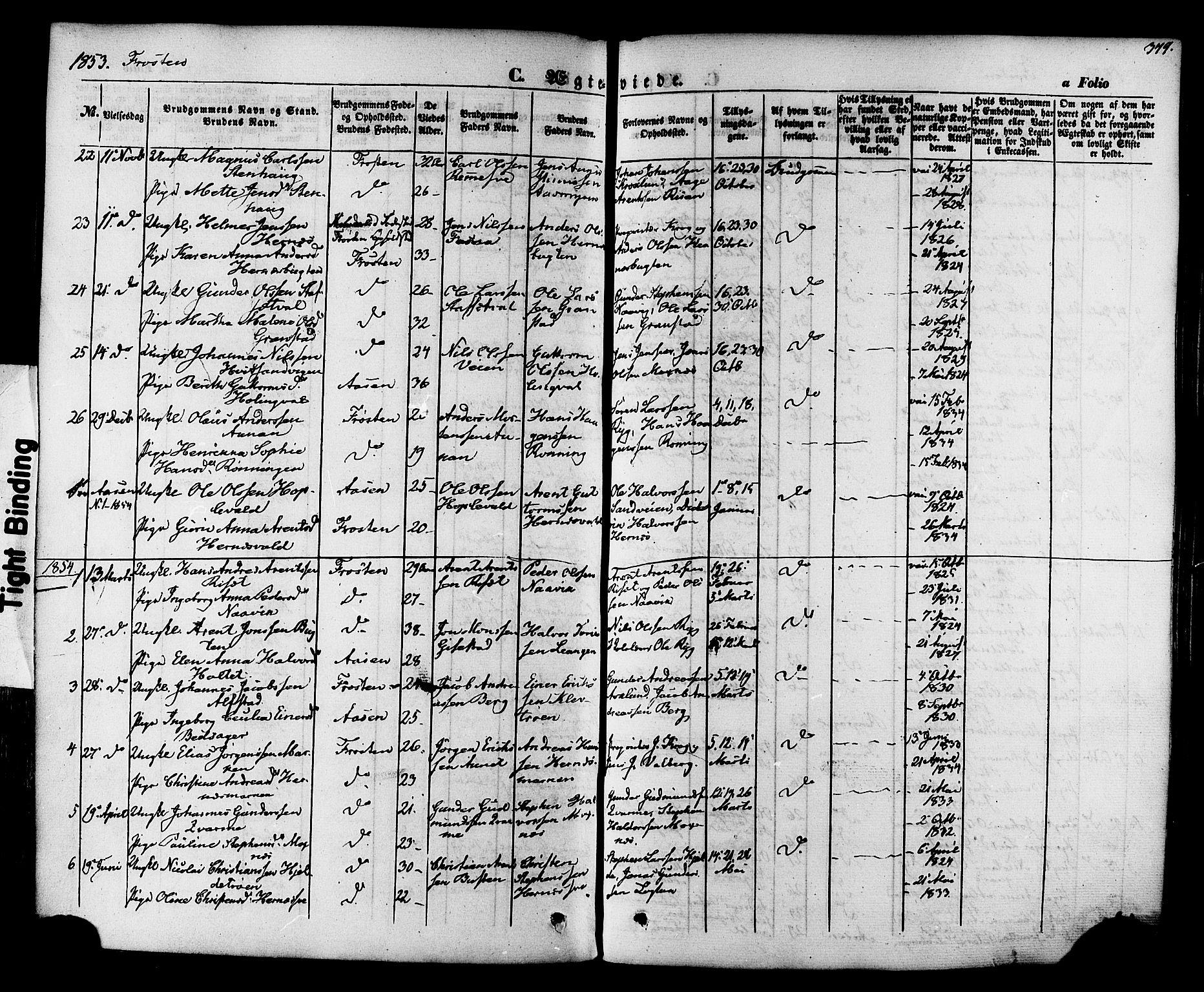 SAT, Ministerialprotokoller, klokkerbøker og fødselsregistre - Nord-Trøndelag, 713/L0116: Ministerialbok nr. 713A07 /1, 1850-1877, s. 349