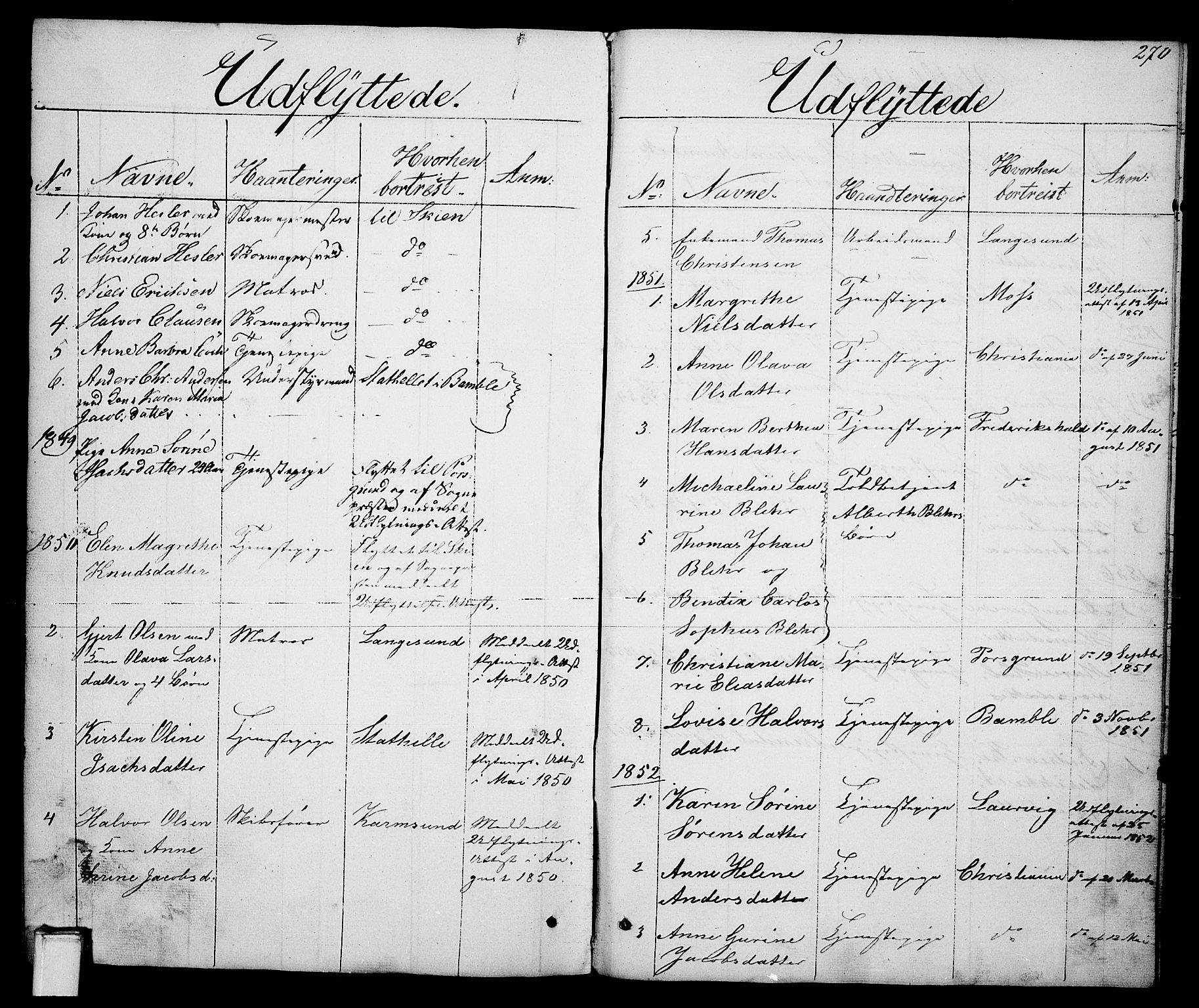 SAKO, Brevik kirkebøker, G/Ga/L0002: Klokkerbok nr. 2, 1846-1865, s. 270