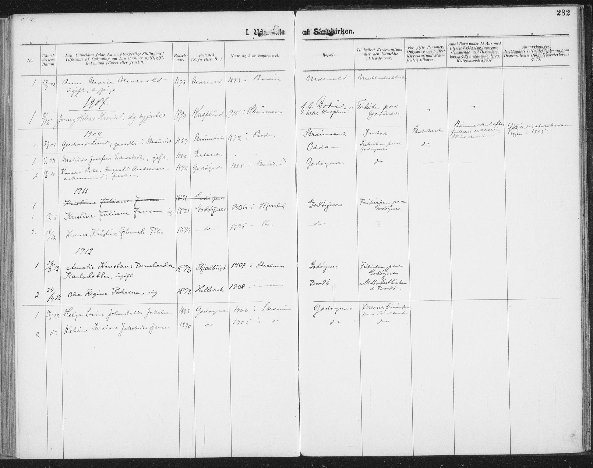 SAT, Ministerialprotokoller, klokkerbøker og fødselsregistre - Nordland, 804/L0081: Ministerialbok nr. 804A02, 1901-1915, s. 282