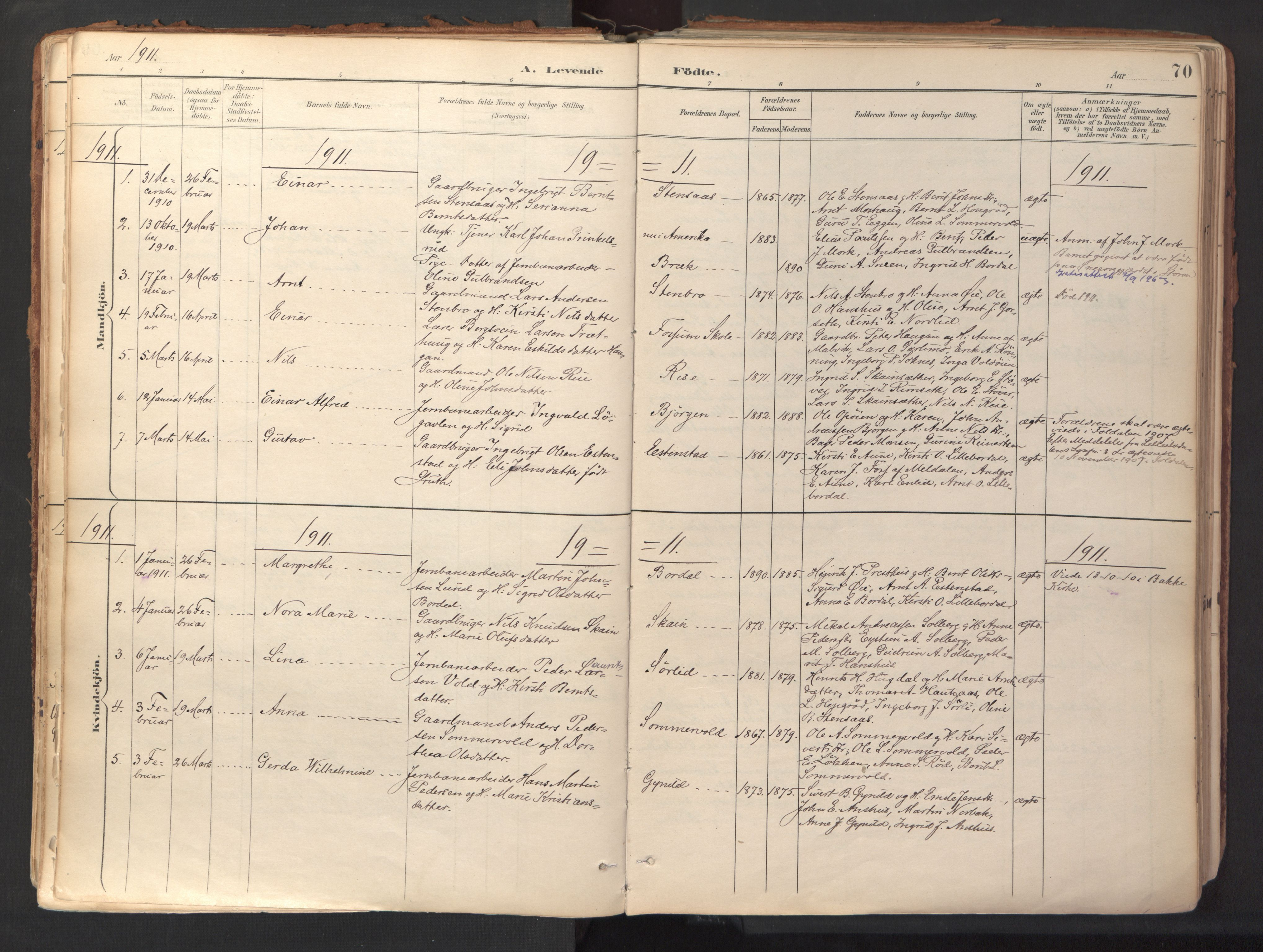 SAT, Ministerialprotokoller, klokkerbøker og fødselsregistre - Sør-Trøndelag, 689/L1041: Ministerialbok nr. 689A06, 1891-1923, s. 70