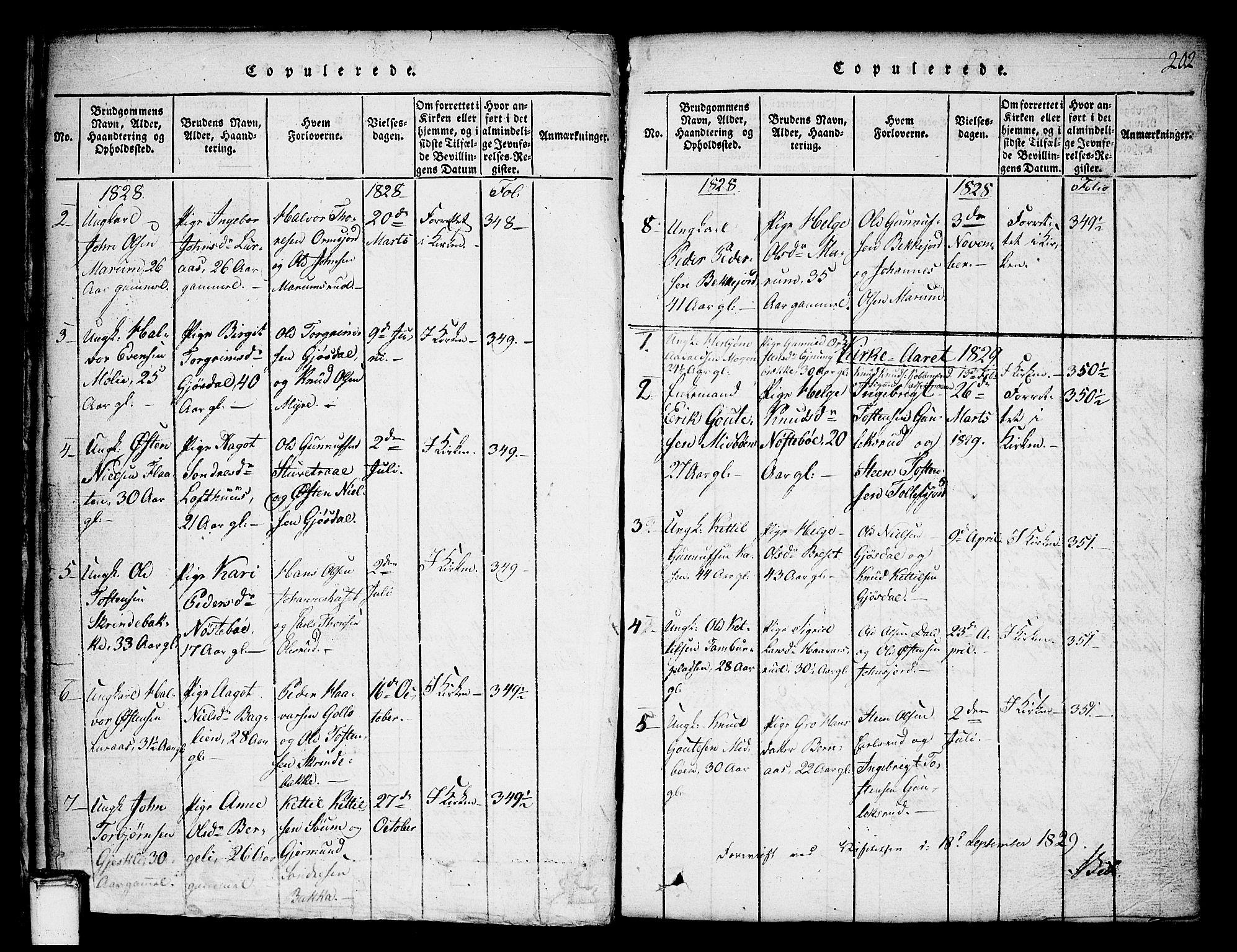 SAKO, Tinn kirkebøker, G/Ga/L0001: Klokkerbok nr. I 1, 1815-1850, s. 202