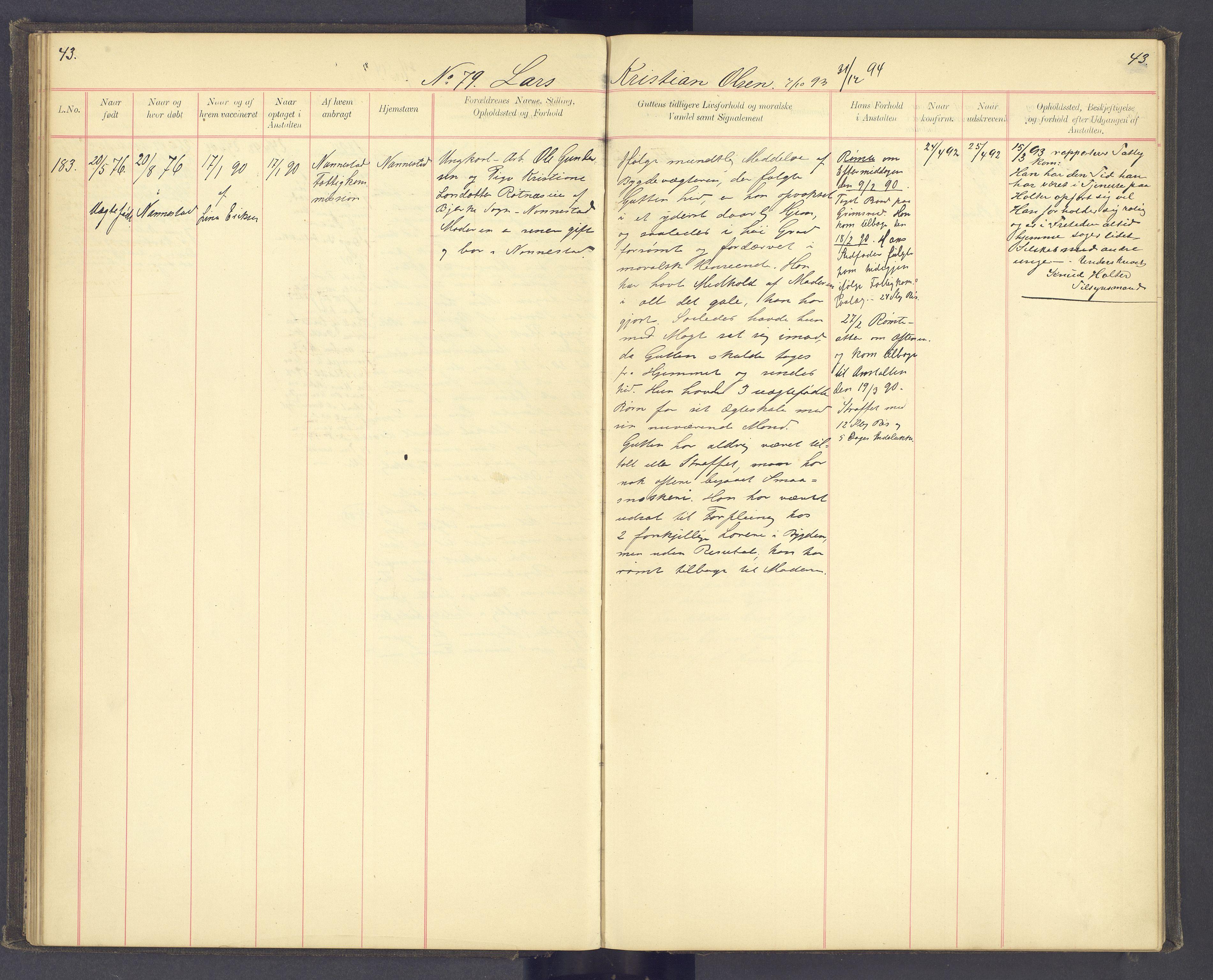SAH, Toftes Gave, F/Fc/L0004: Elevprotokoll, 1885-1897, s. 43