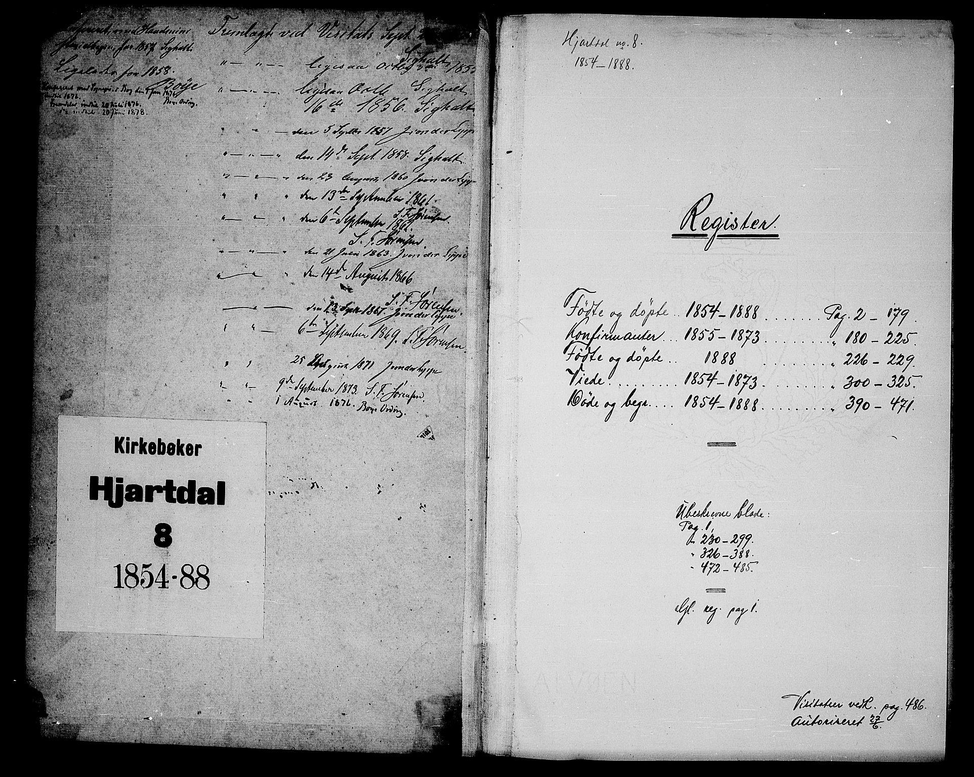 SAKO, Hjartdal kirkebøker, G/Ga/L0002: Klokkerbok nr. I 2, 1854-1888