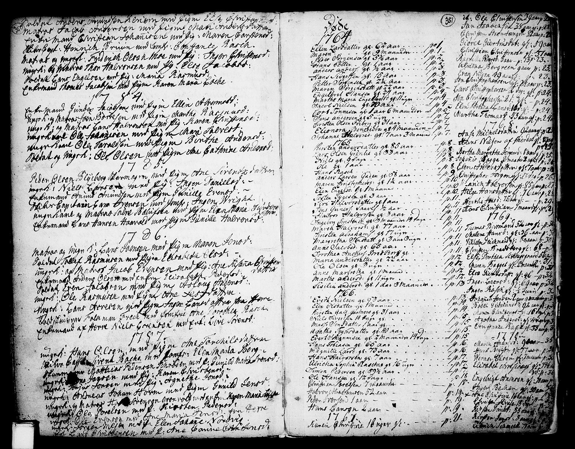 SAKO, Porsgrunn kirkebøker , F/Fa/L0002: Ministerialbok nr. 2, 1764-1814, s. 350-351