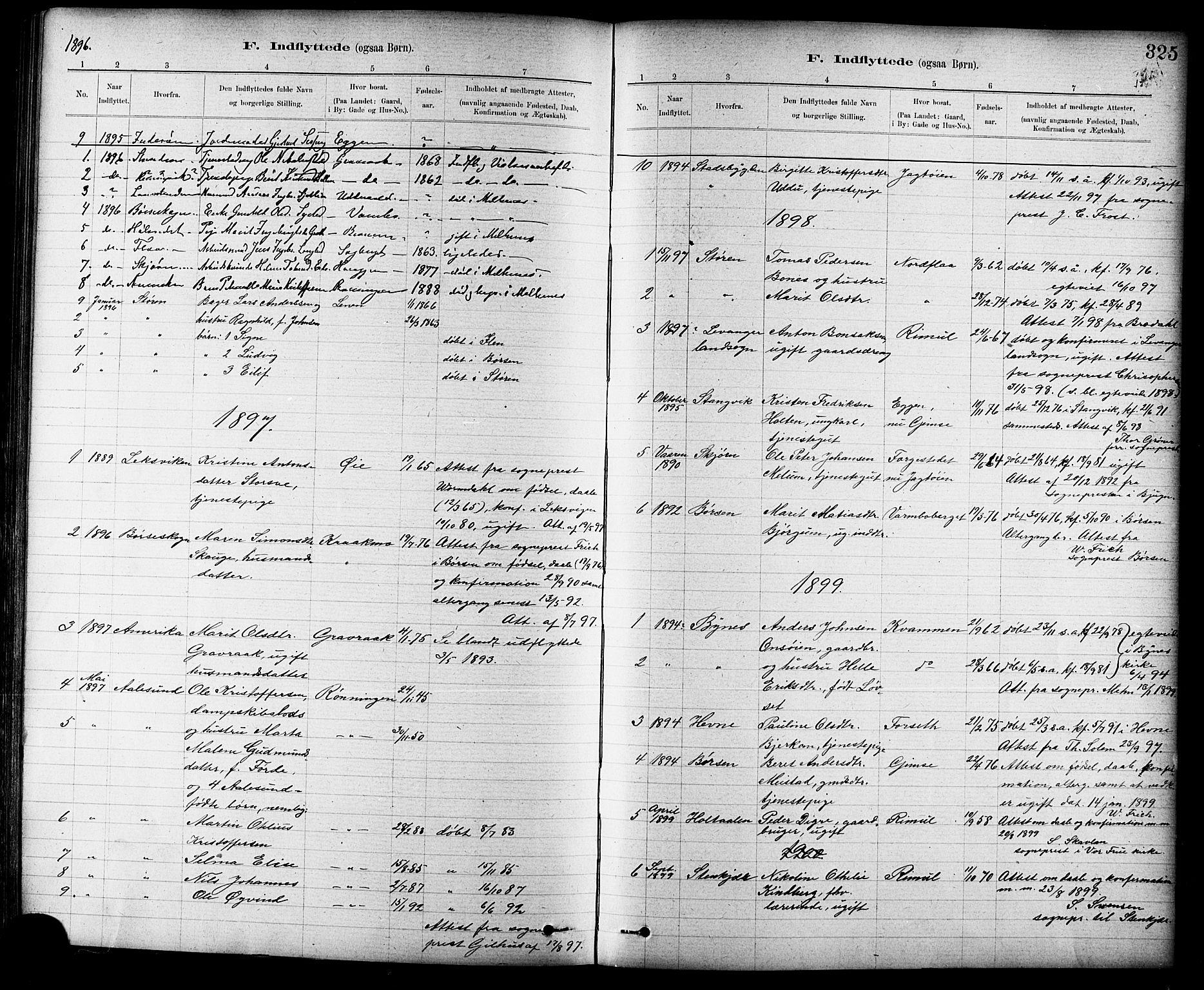 SAT, Ministerialprotokoller, klokkerbøker og fødselsregistre - Sør-Trøndelag, 691/L1094: Klokkerbok nr. 691C05, 1879-1911, s. 325